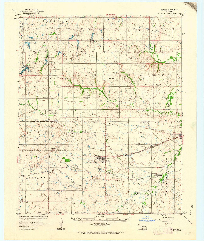 USGS 1:62500-SCALE QUADRANGLE FOR GOTEBO, OK 1961