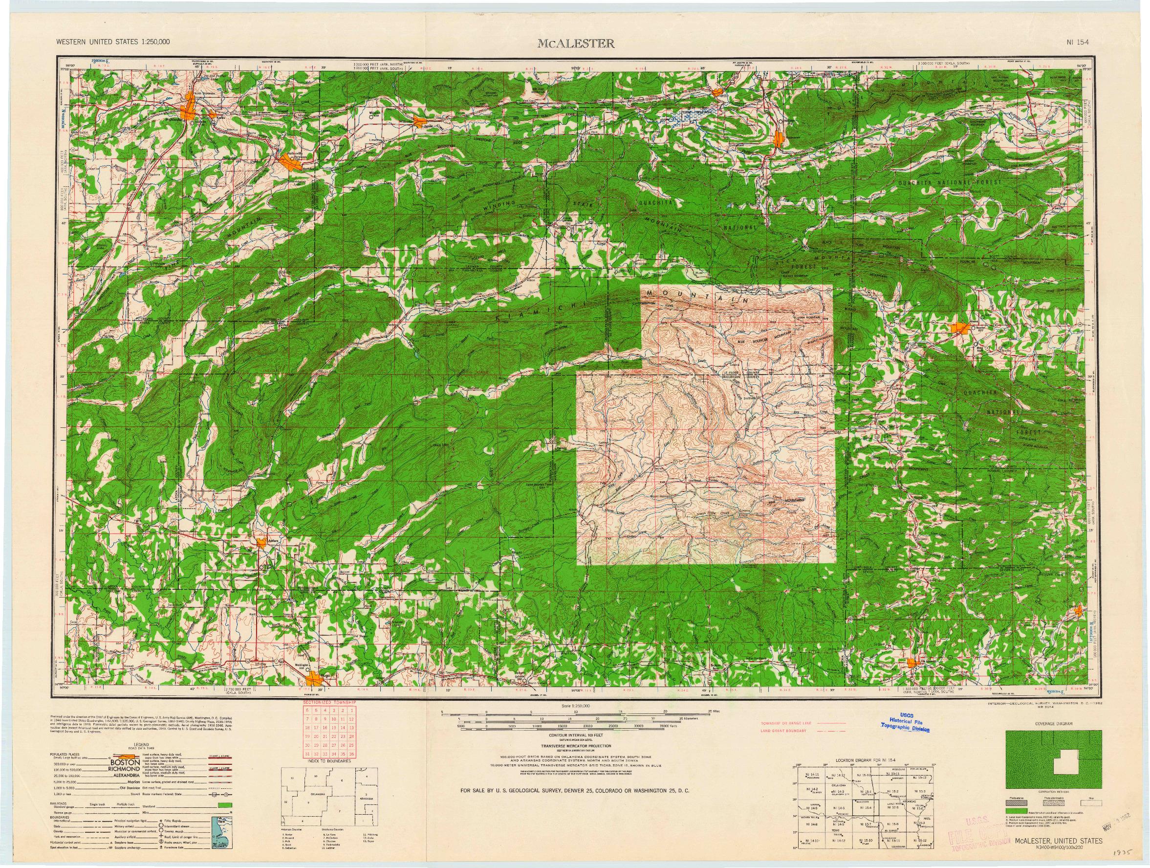 USGS 1:250000-SCALE QUADRANGLE FOR MCALESTER, OK 1962
