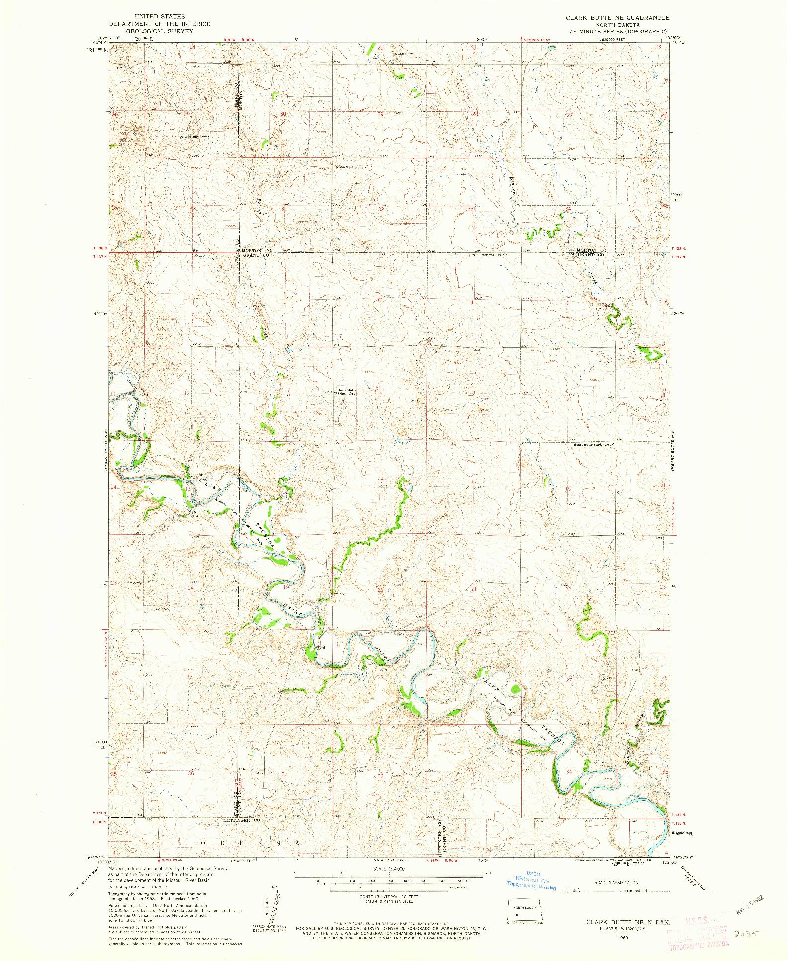 USGS 1:24000-SCALE QUADRANGLE FOR CLARK BUTTE NE, ND 1960