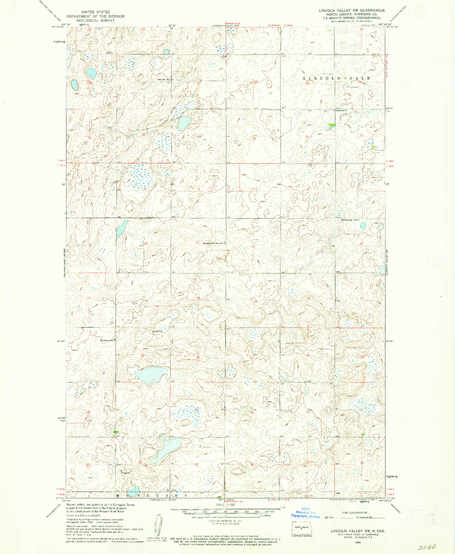 USGS 1:24000-SCALE QUADRANGLE FOR LINCOLN VALLEY SW, ND 1960