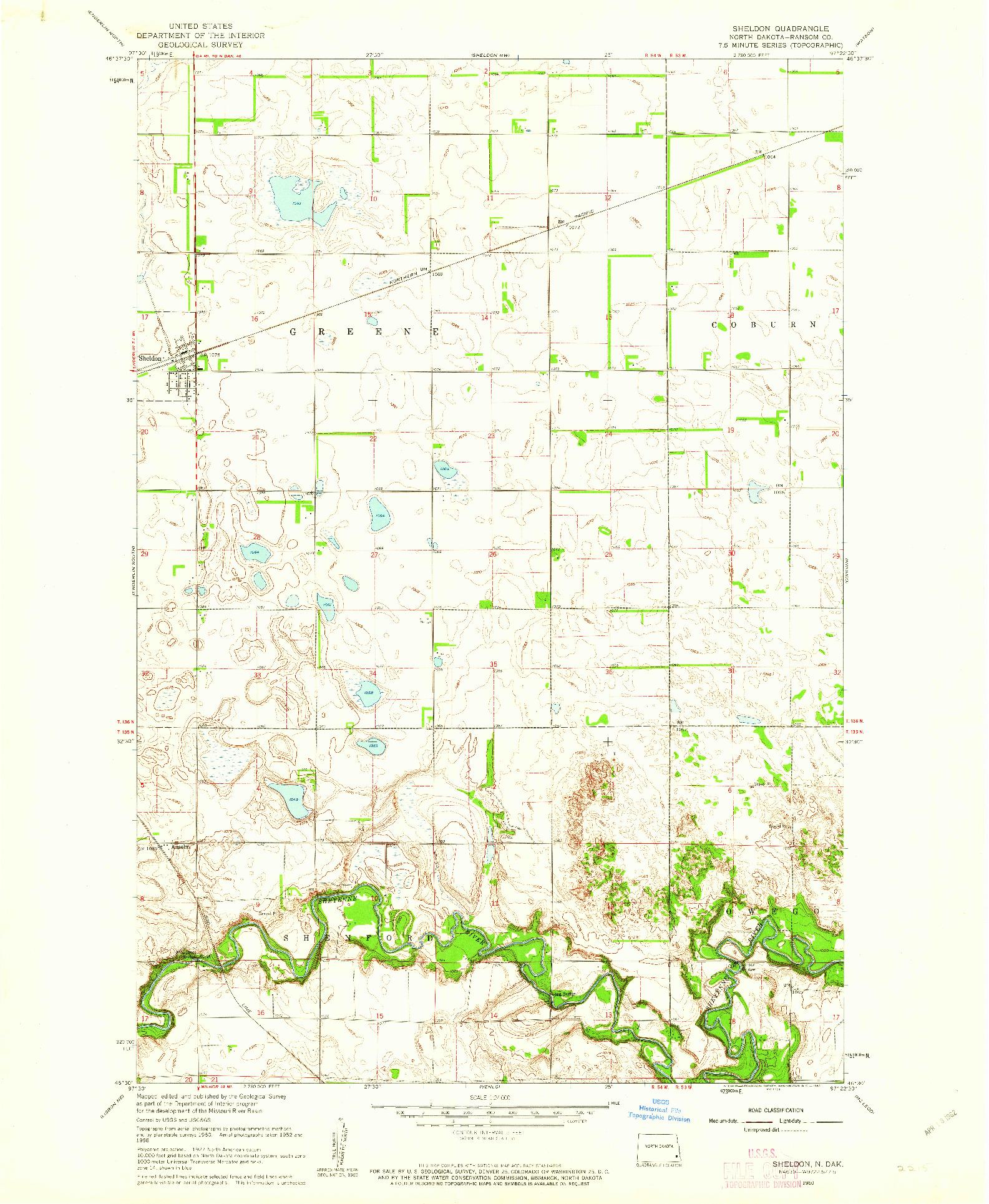 USGS 1:24000-SCALE QUADRANGLE FOR SHELDON, ND 1960