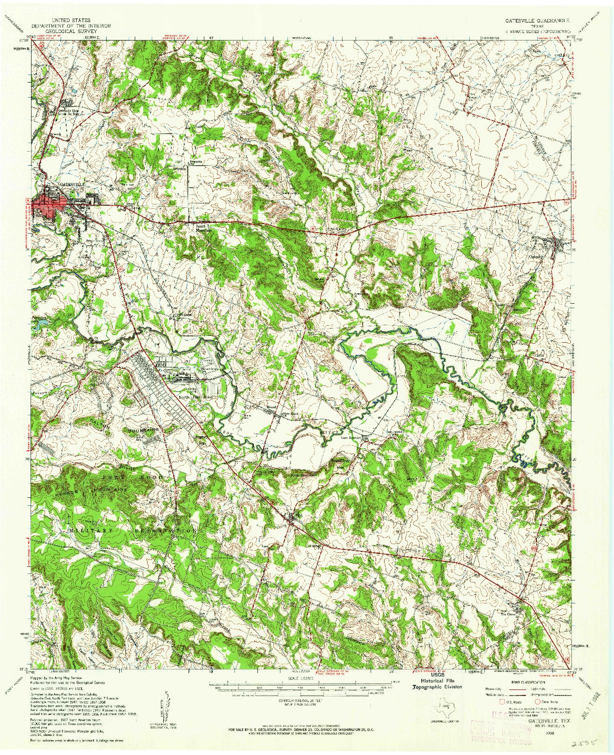 USGS 1:62500-SCALE QUADRANGLE FOR GATESVILLE, TX 1958