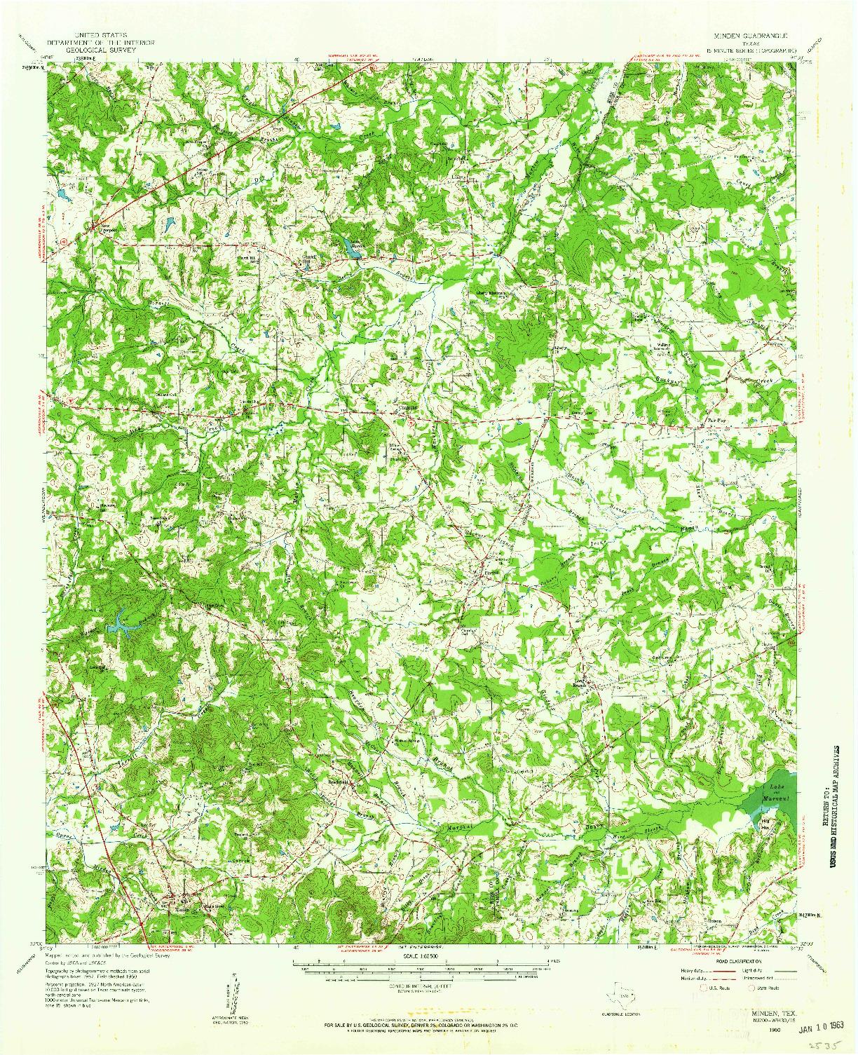 USGS 1:62500-SCALE QUADRANGLE FOR MINDEN, TX 1960