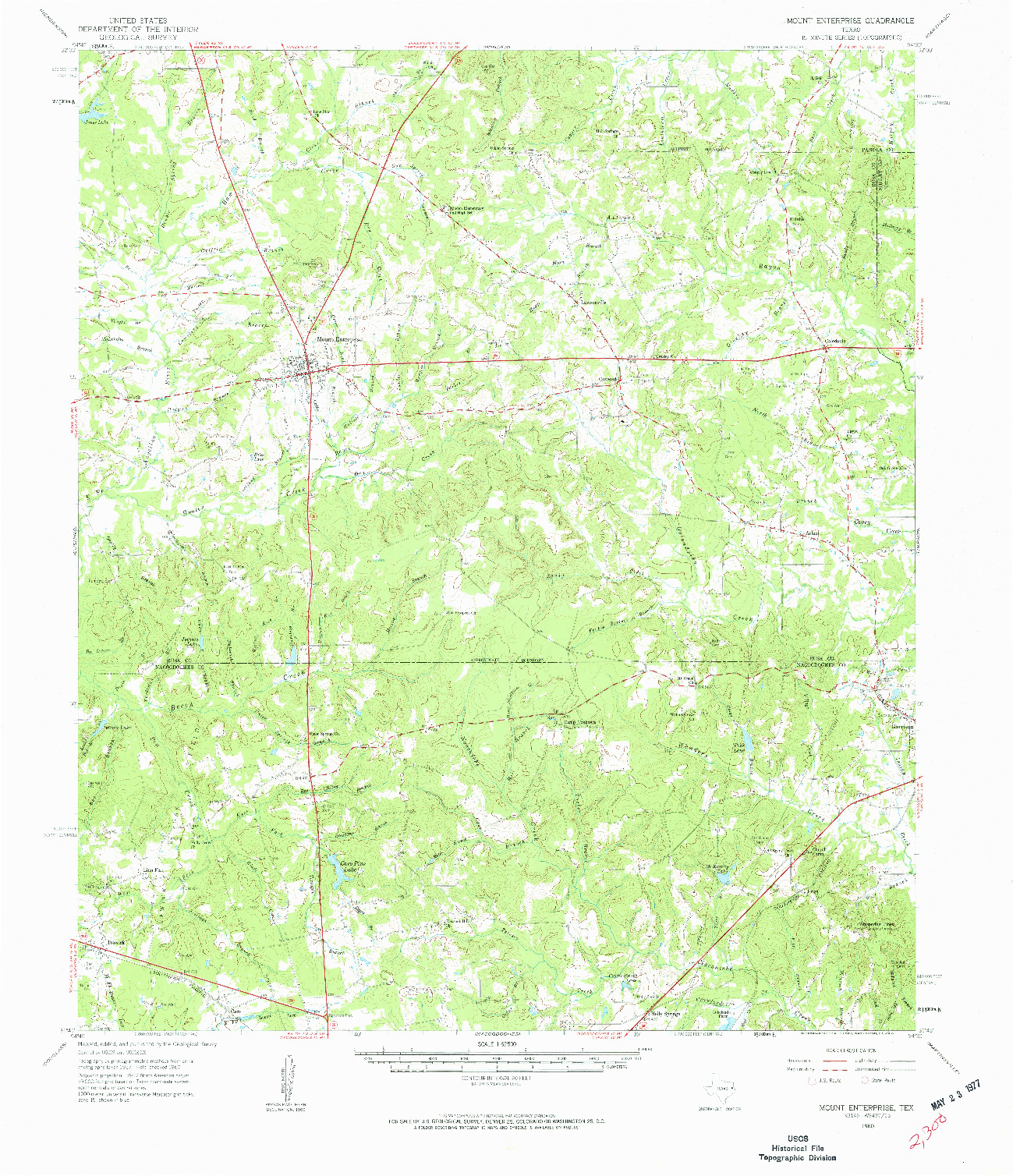 USGS 1:62500-SCALE QUADRANGLE FOR MOUNT ENTERPRISE, TX 1960