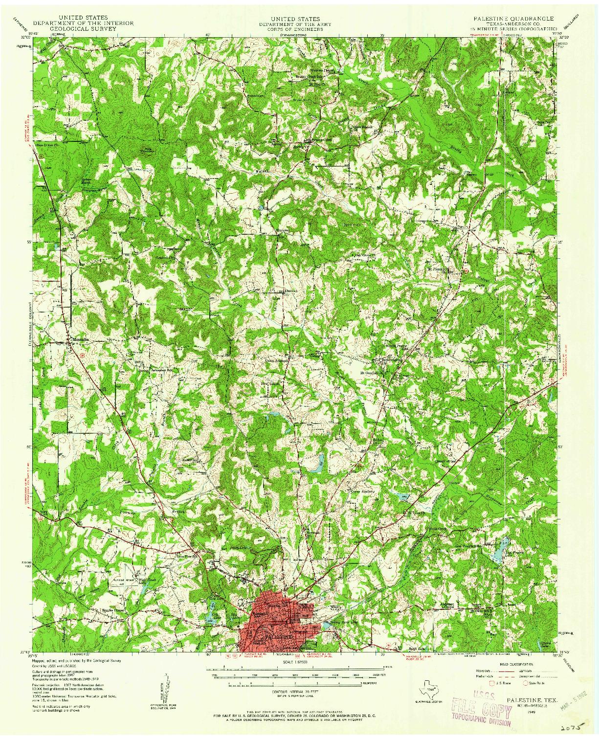 USGS 1:62500-SCALE QUADRANGLE FOR PALESTINE, TX 1949