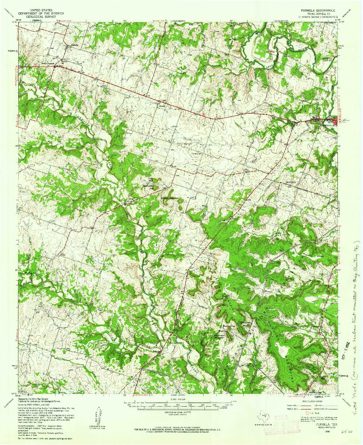 USGS 1:62500-SCALE QUADRANGLE FOR PURMELA, TX 1958