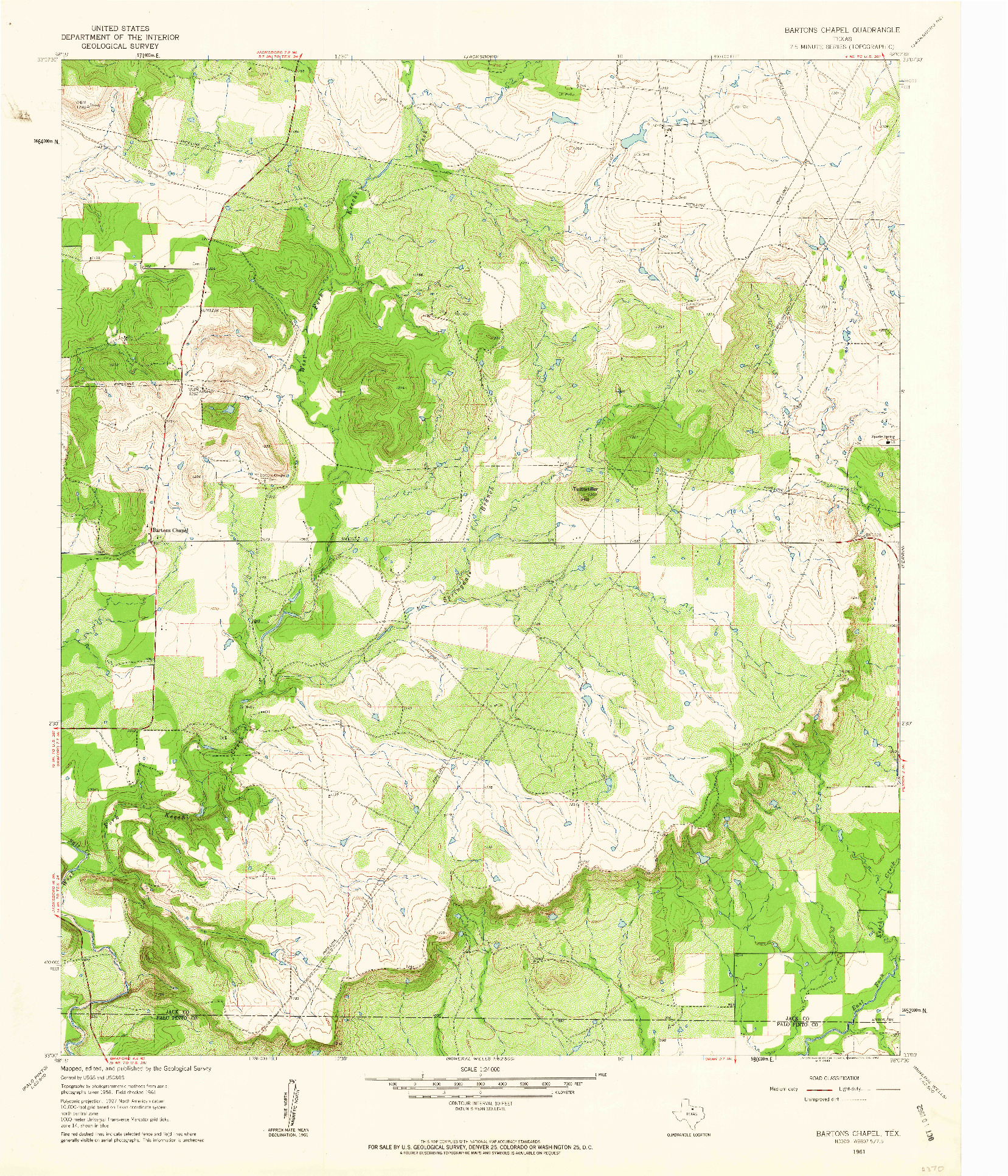 USGS 1:24000-SCALE QUADRANGLE FOR BARTONS CHAPEL, TX 1961