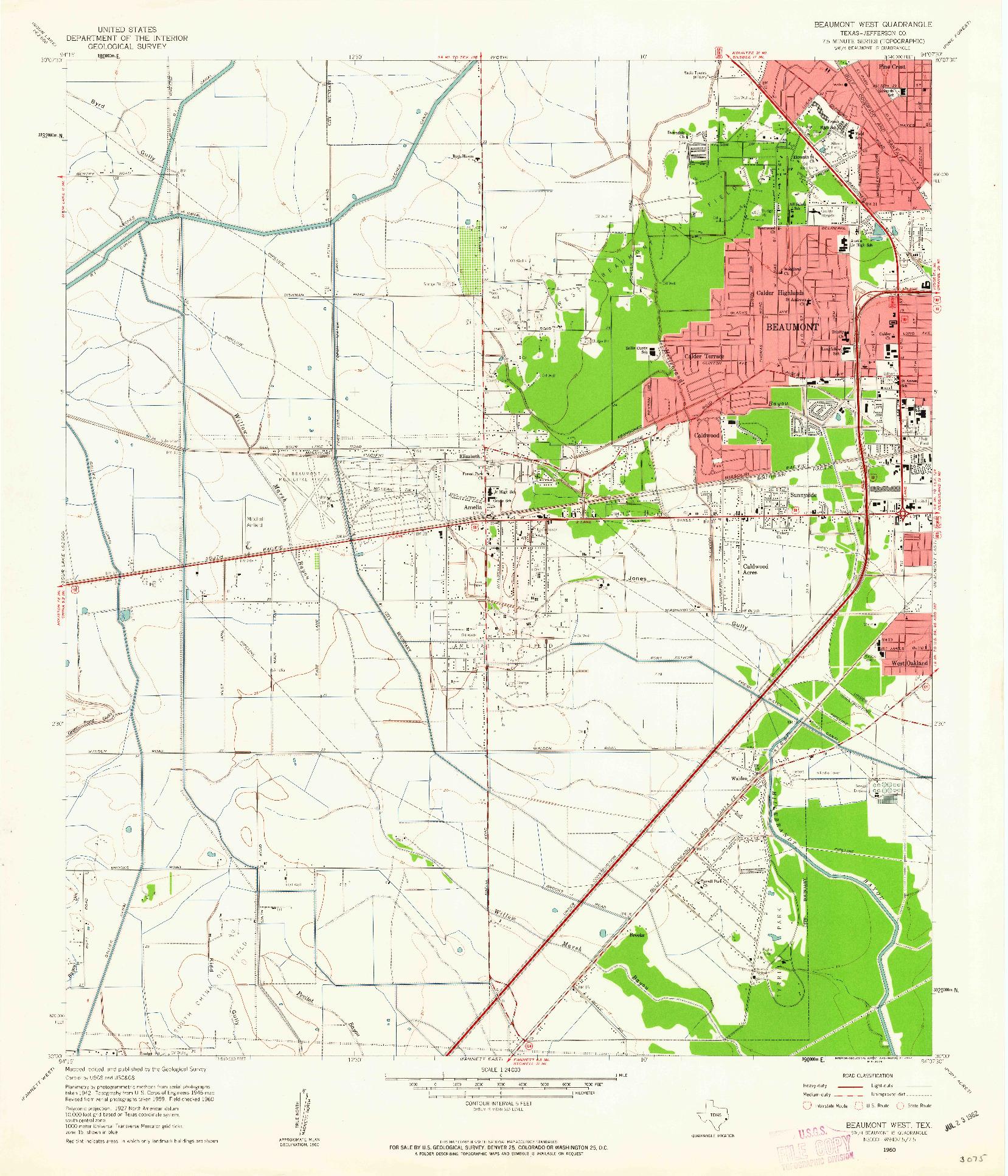 USGS 1:24000-SCALE QUADRANGLE FOR BEAUMONT WEST, TX 1960