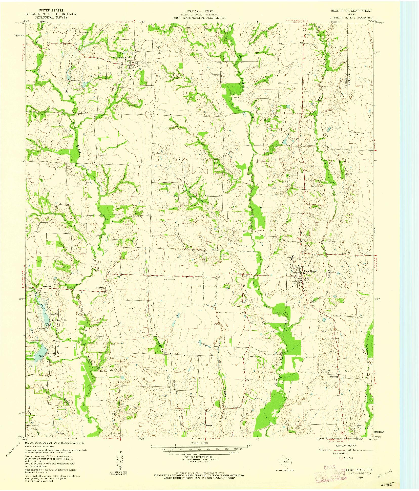 USGS 1:24000-SCALE QUADRANGLE FOR BLUE RIDGE, TX 1960
