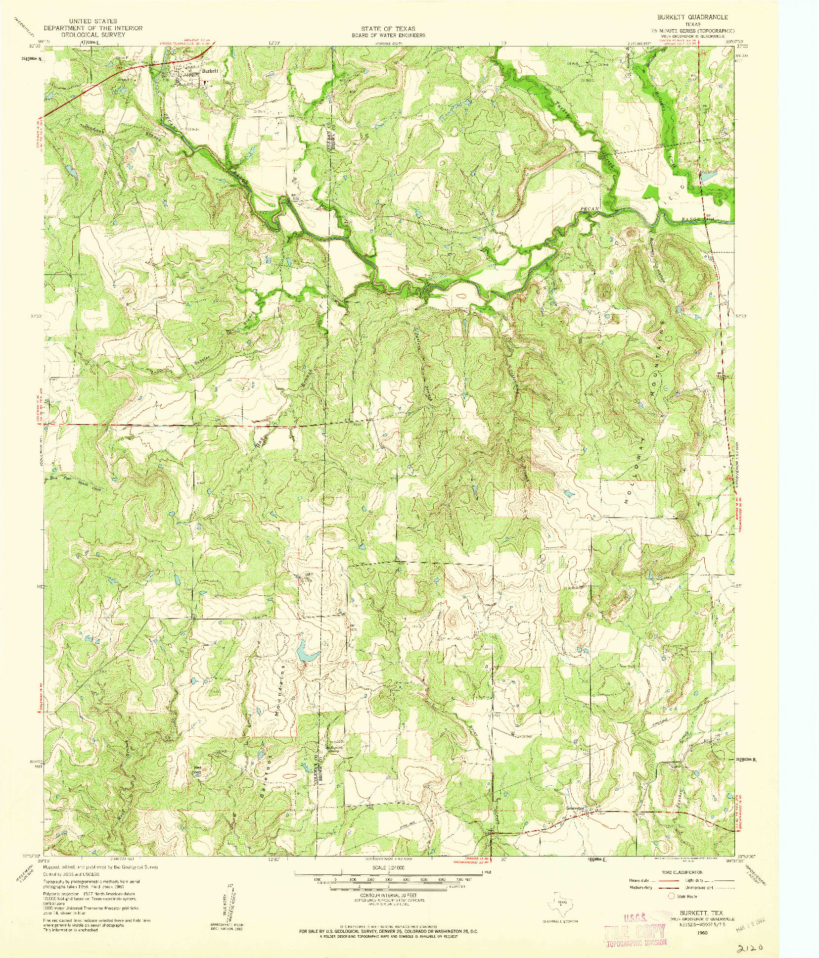 USGS 1:24000-SCALE QUADRANGLE FOR BURKETT, TX 1960
