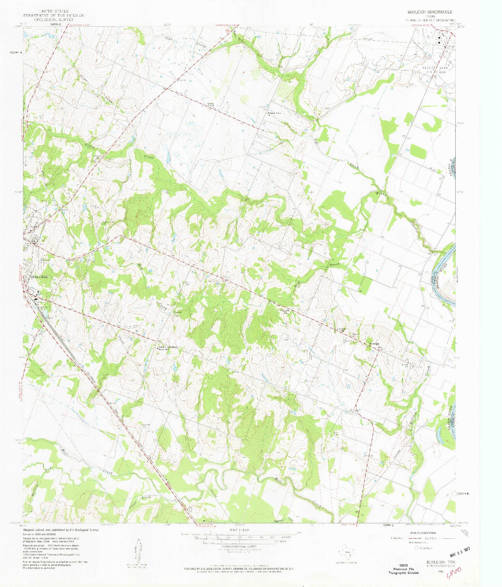 USGS 1:24000-SCALE QUADRANGLE FOR BURLEIGH, TX 1961