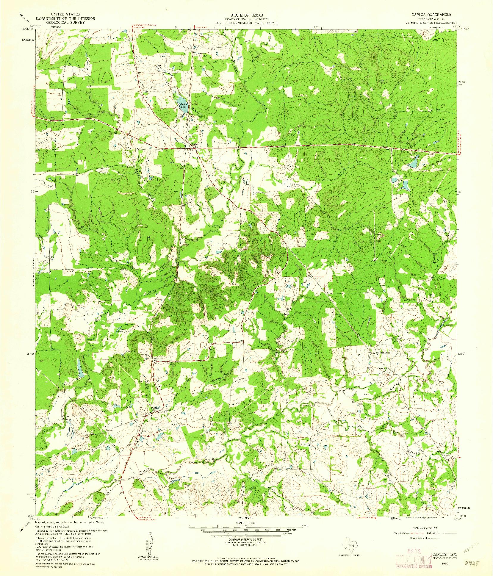 USGS 1:24000-SCALE QUADRANGLE FOR CARLOS, TX 1960