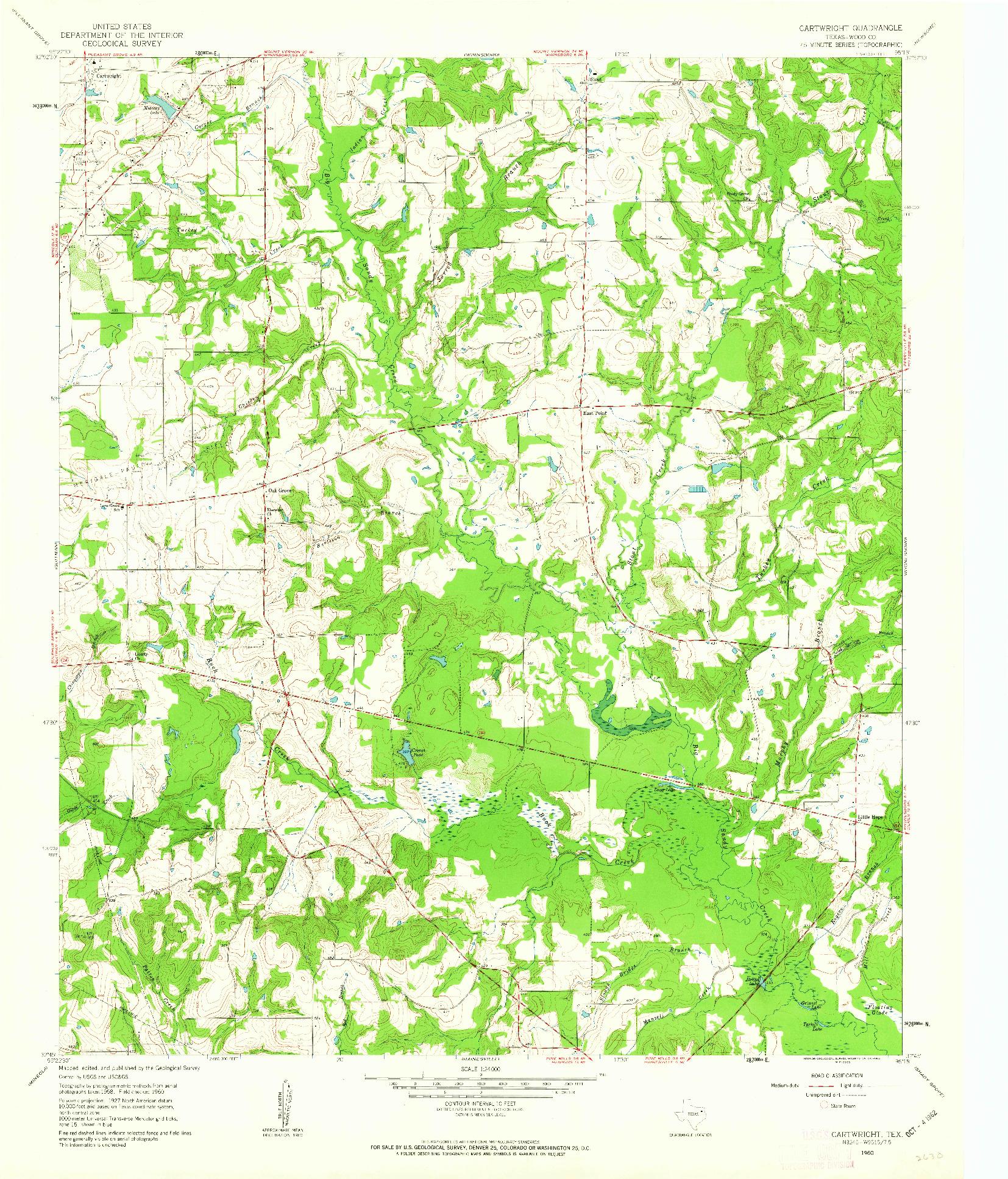 USGS 1:24000-SCALE QUADRANGLE FOR CARTWRIGHT, TX 1960