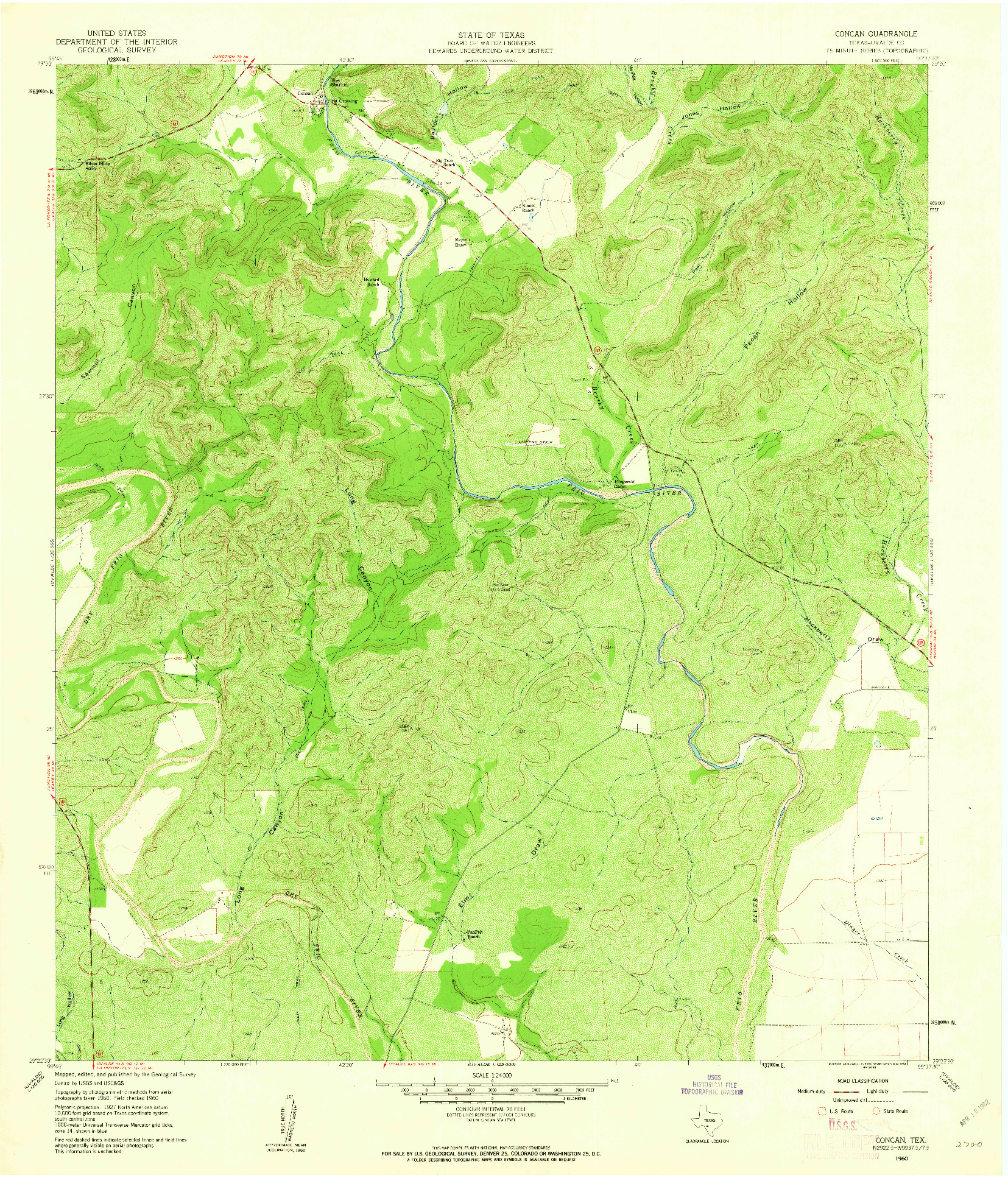 USGS 1:24000-SCALE QUADRANGLE FOR CONCAN, TX 1960