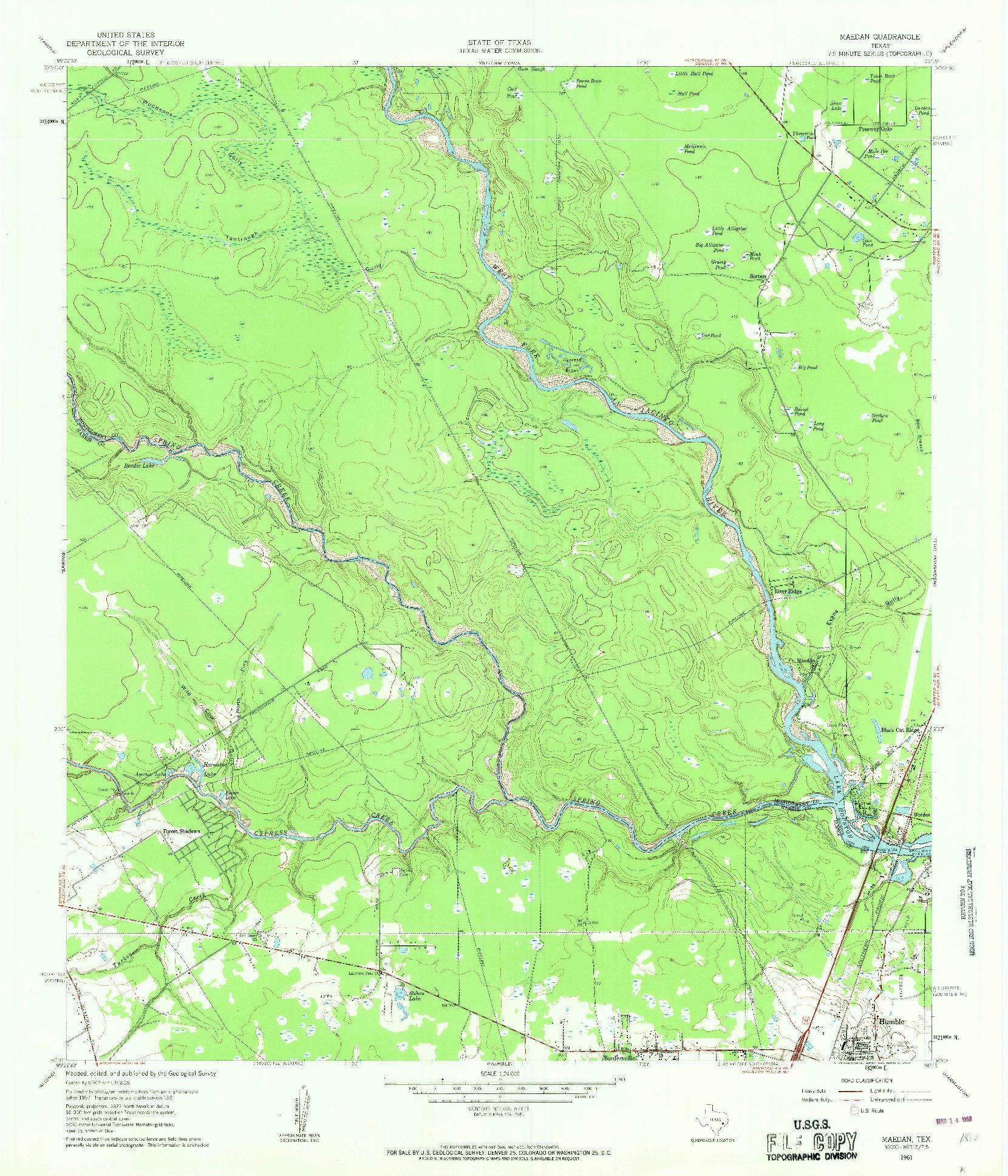 USGS 1:24000-SCALE QUADRANGLE FOR MAEDAN, TX 1961