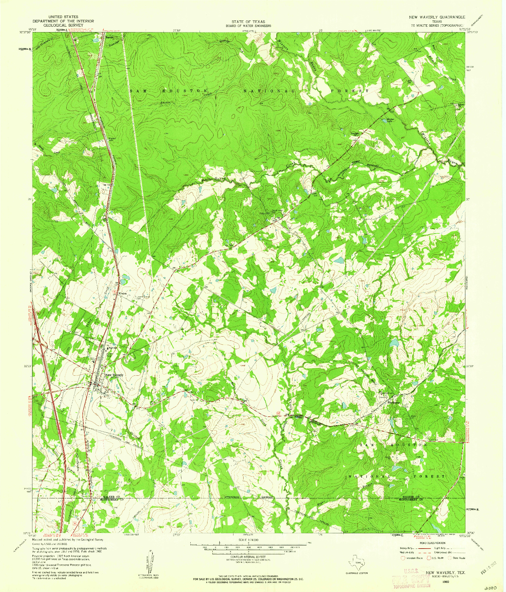 USGS 1:24000-SCALE QUADRANGLE FOR NEW WAVERLY, TX 1960