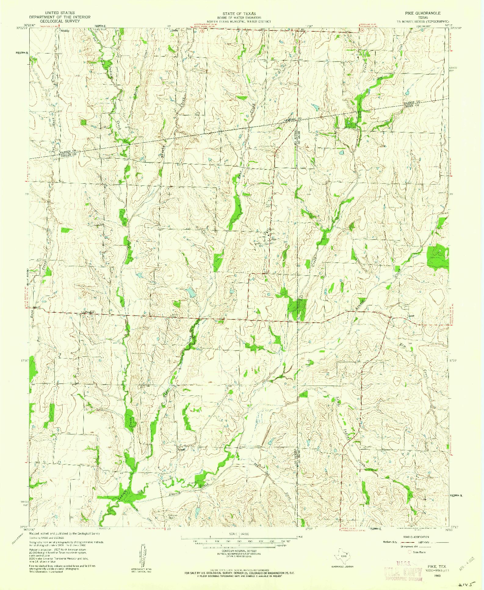 USGS 1:24000-SCALE QUADRANGLE FOR PIKE, TX 1960