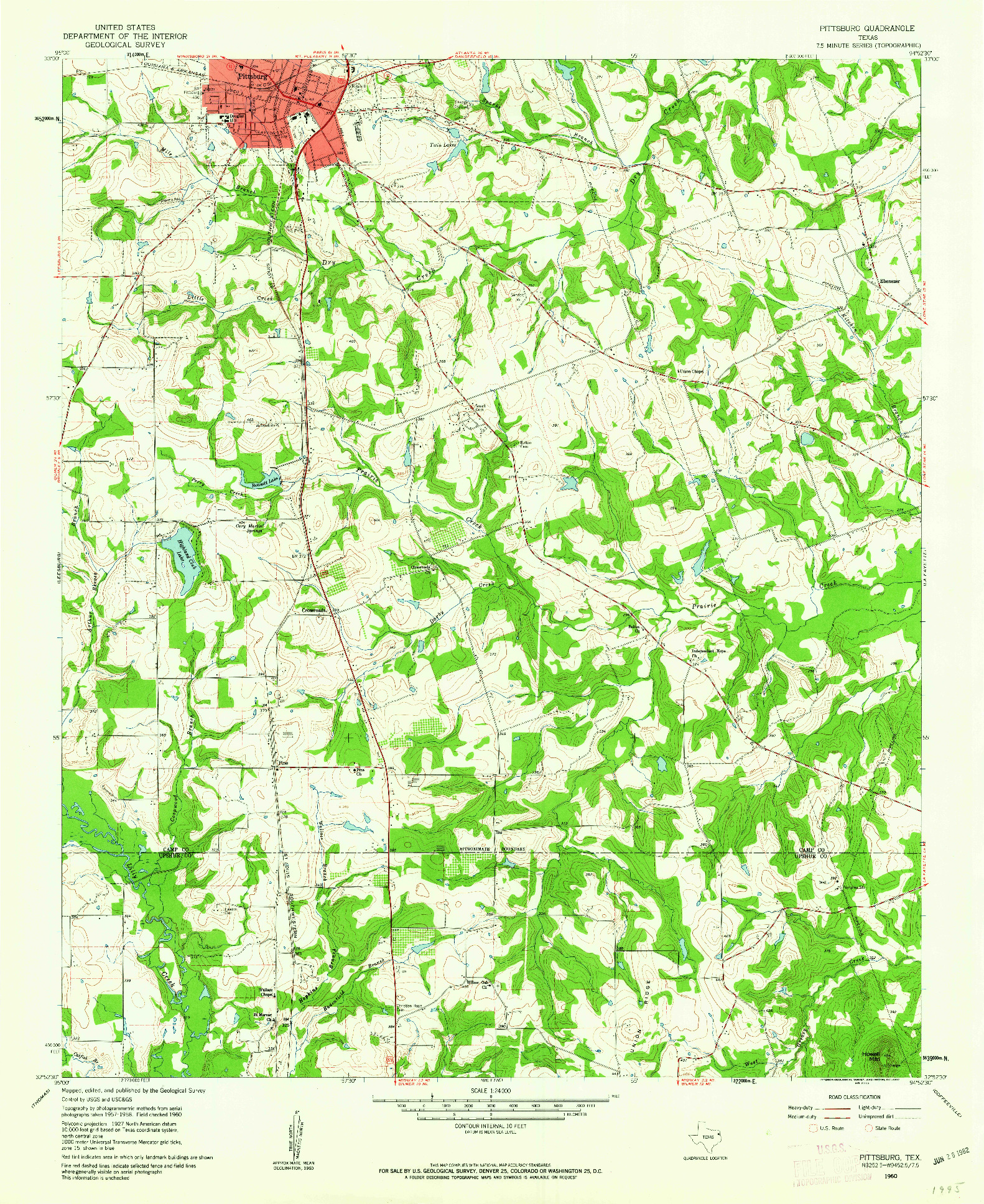 USGS 1:24000-SCALE QUADRANGLE FOR PITTSBURG, TX 1960