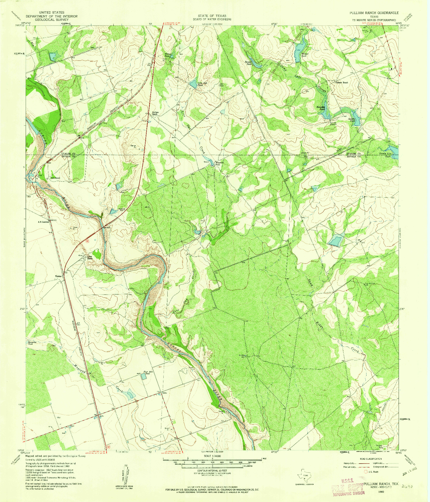 USGS 1:24000-SCALE QUADRANGLE FOR PULLIAM RANCH, TX 1960