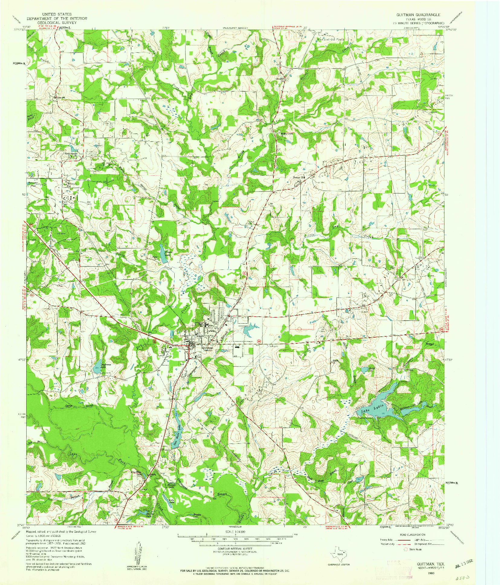 USGS 1:24000-SCALE QUADRANGLE FOR QUITMAN, TX 1960