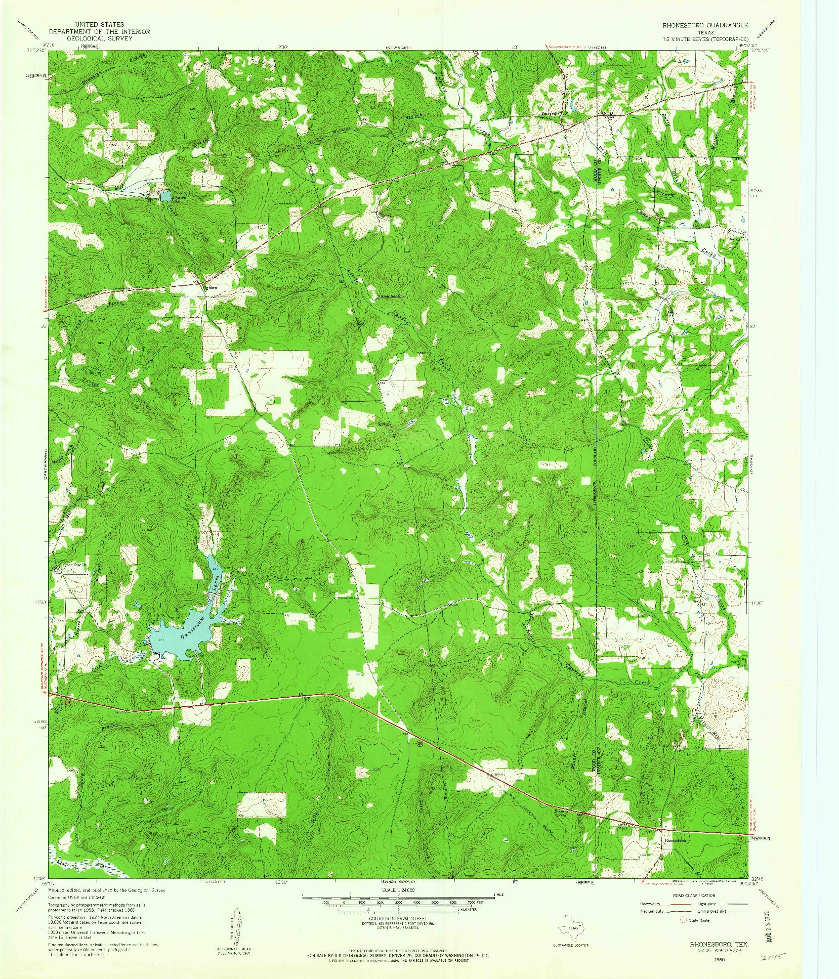 USGS 1:24000-SCALE QUADRANGLE FOR RHONESBORO, TX 1960