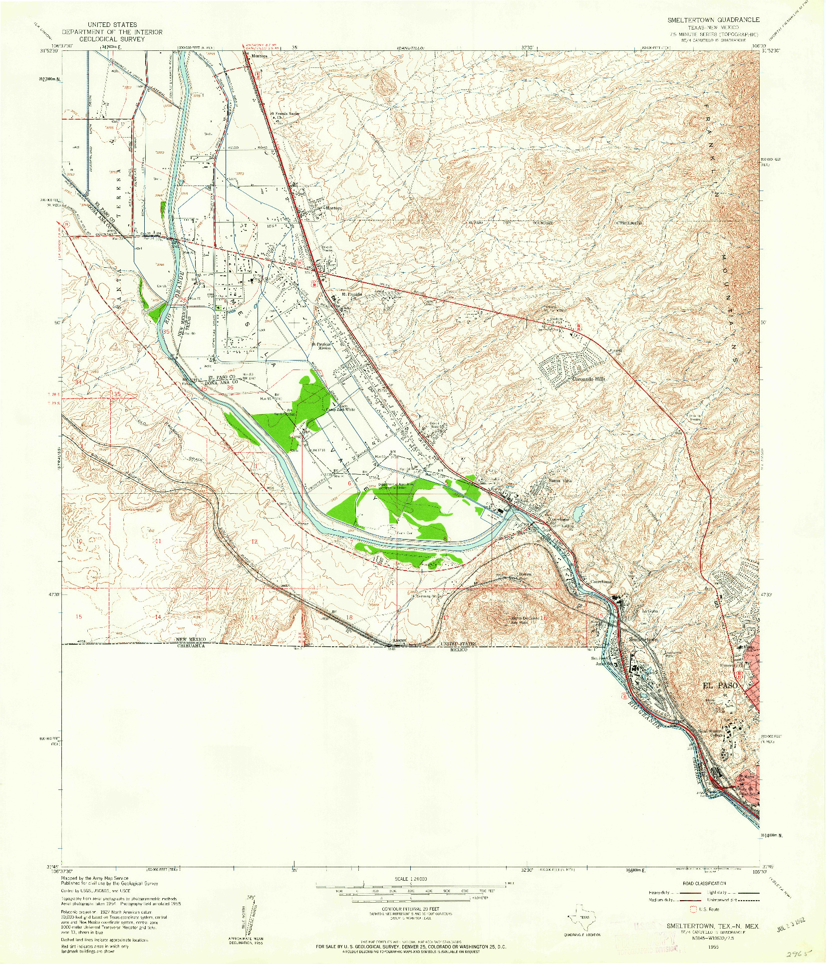 USGS 1:24000-SCALE QUADRANGLE FOR SMELTERTOWN, TX 1955