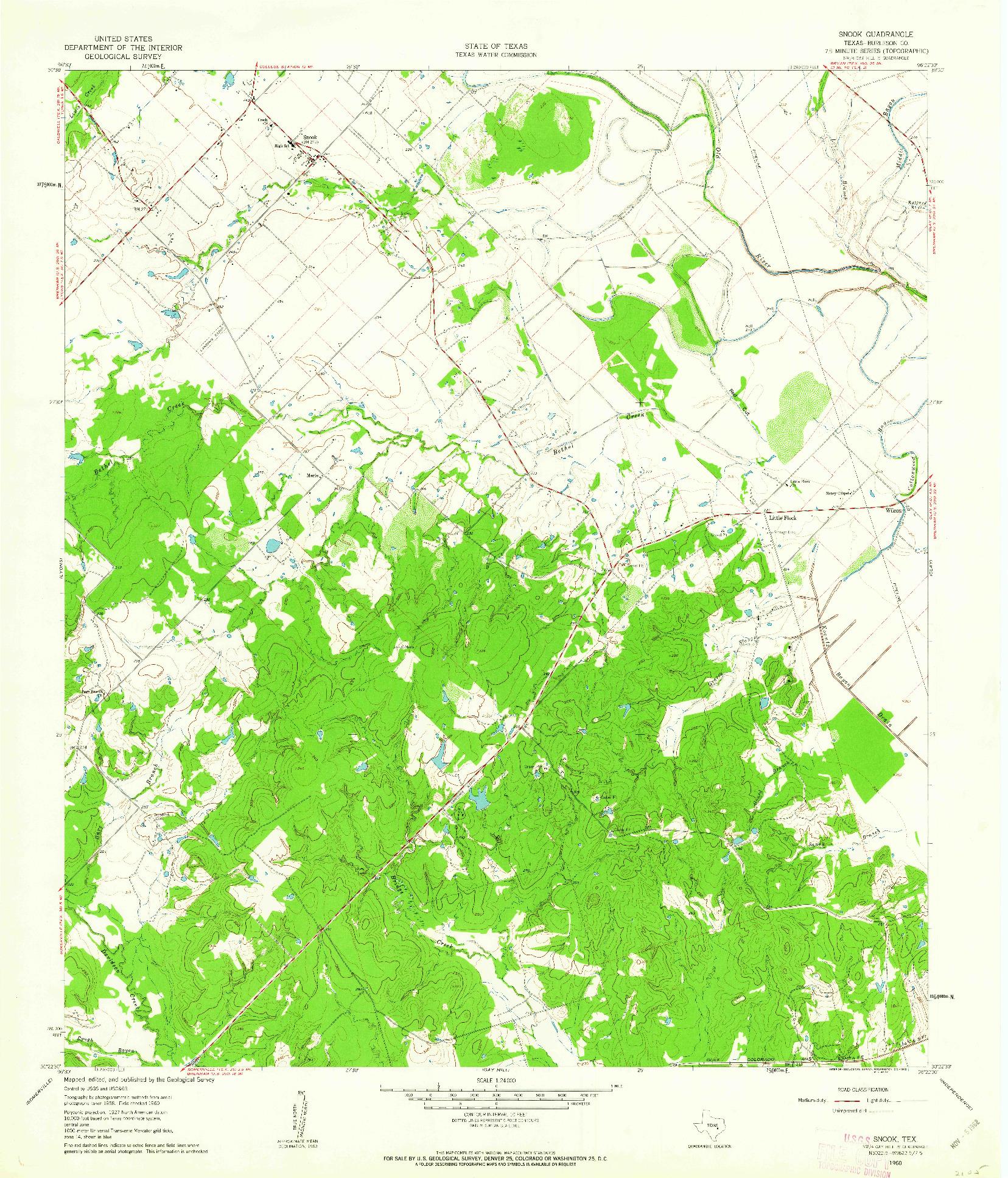 USGS 1:24000-SCALE QUADRANGLE FOR SNOOK, TX 1960
