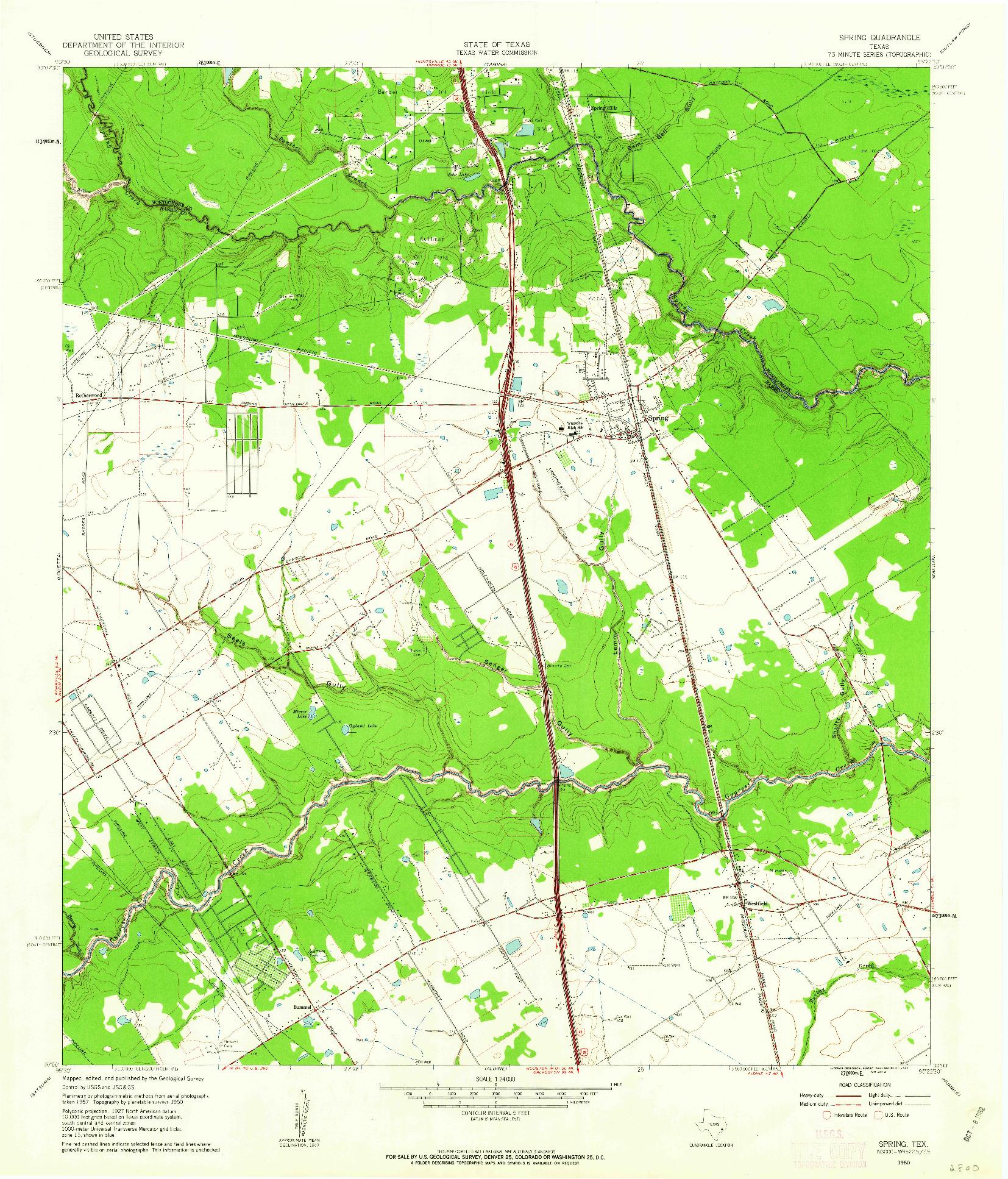 USGS 1:24000-SCALE QUADRANGLE FOR SPRING, TX 1960