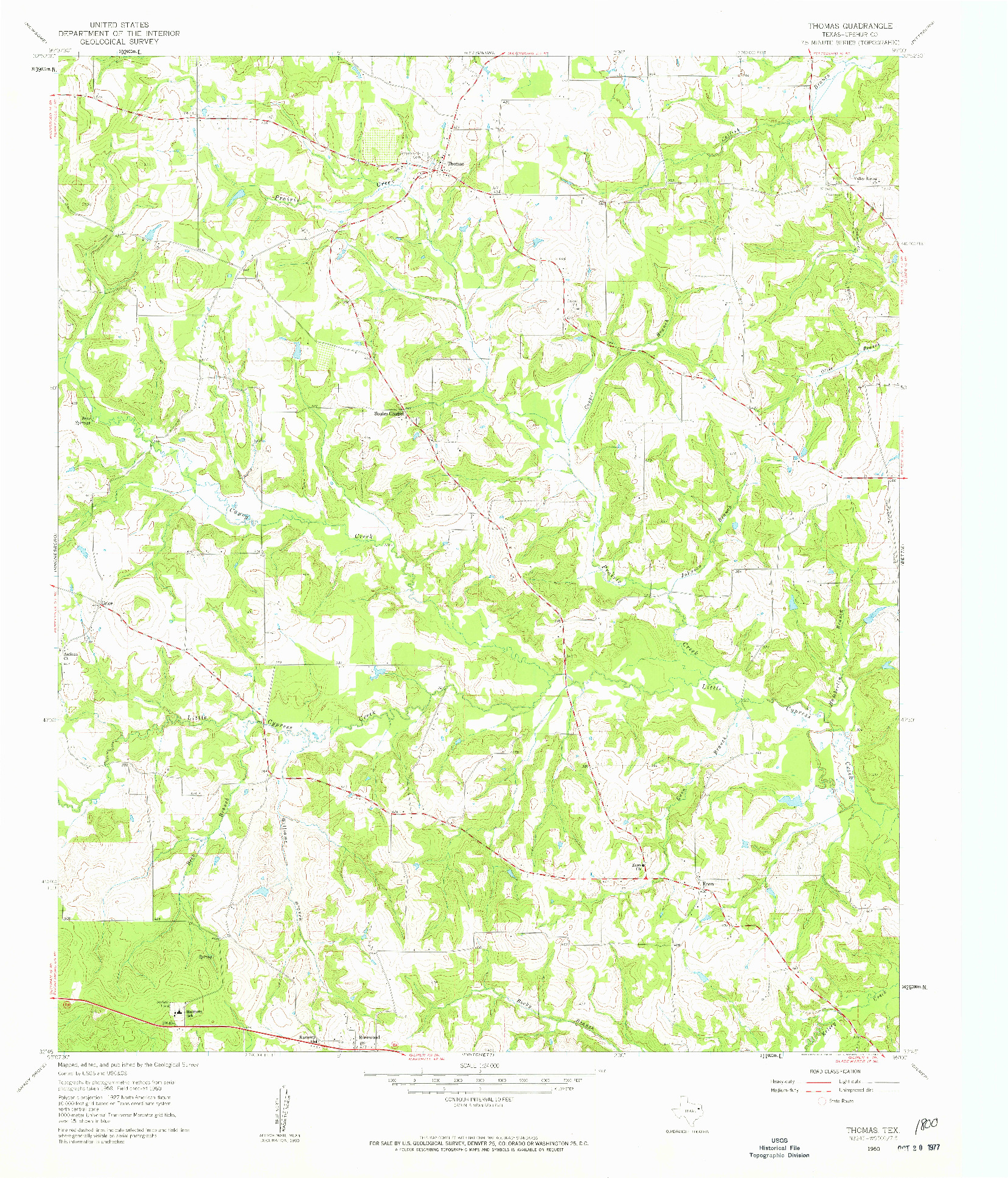 USGS 1:24000-SCALE QUADRANGLE FOR THOMAS, TX 1960