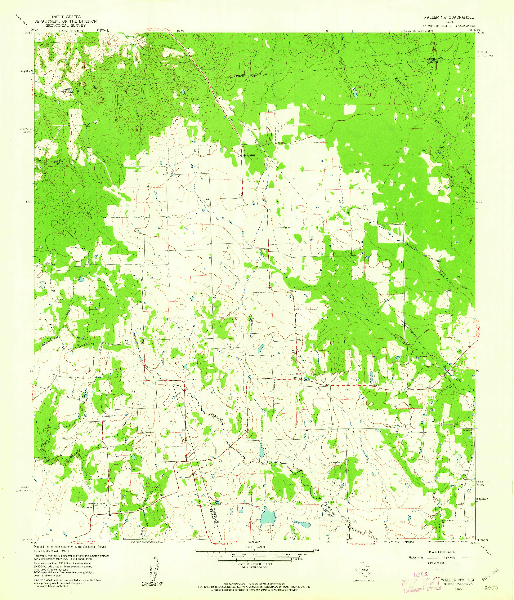 USGS 1:24000-SCALE QUADRANGLE FOR WALLER NW, TX 1960