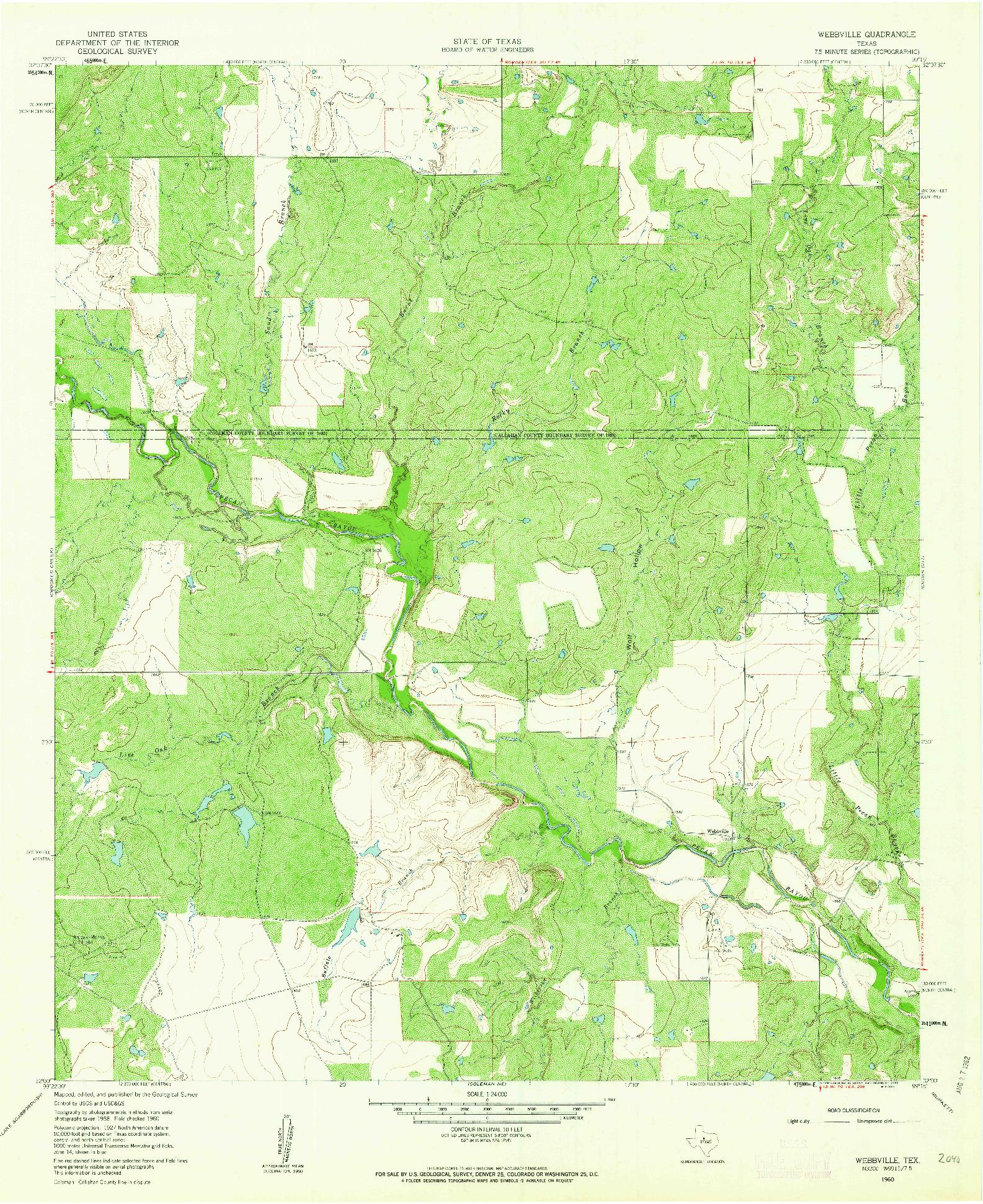 USGS 1:24000-SCALE QUADRANGLE FOR WEBBVILLE, TX 1960
