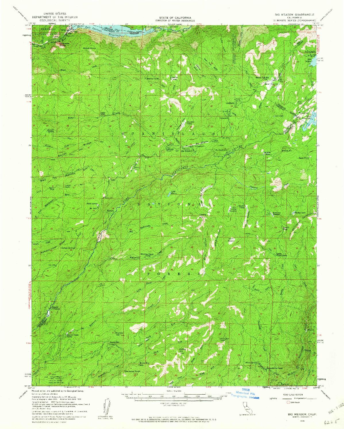 USGS 1:62500-SCALE QUADRANGLE FOR BIG MEADOW, CA 1956