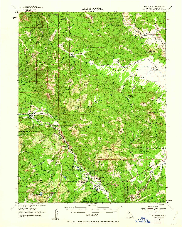 USGS 1:62500-SCALE QUADRANGLE FOR BLAIRSDEN, CA 1956