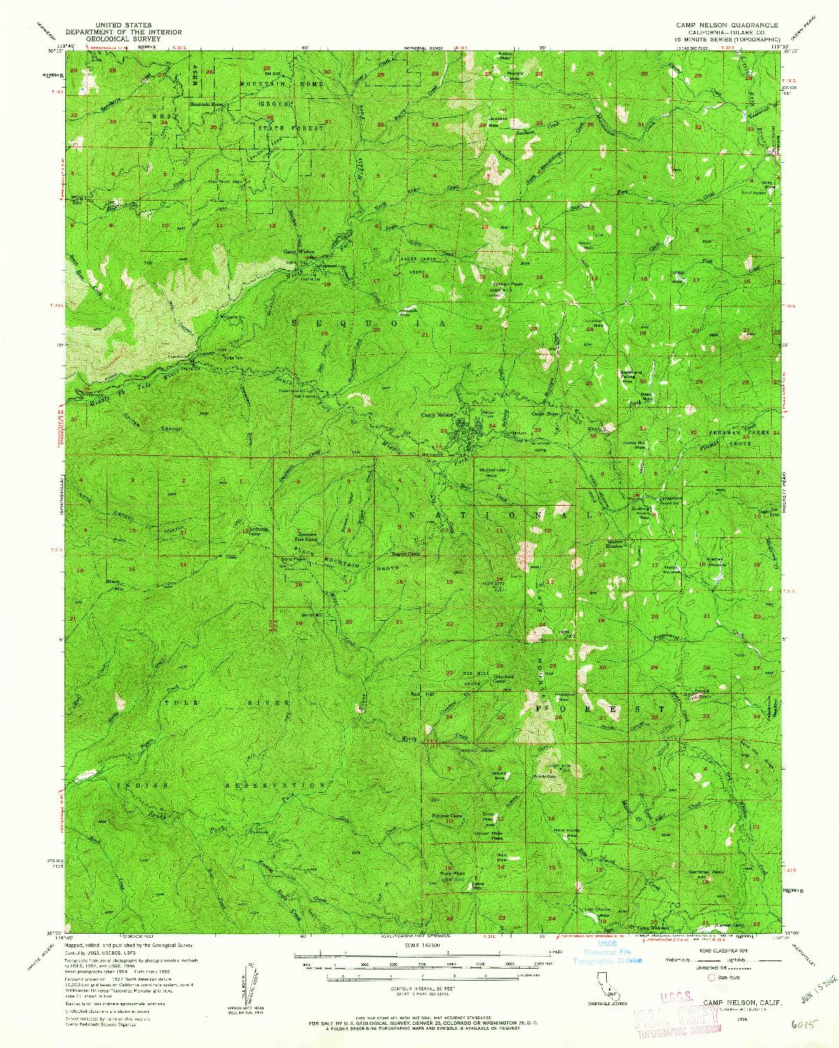 USGS 1:62500-SCALE QUADRANGLE FOR CAMP NELSON, CA 1956