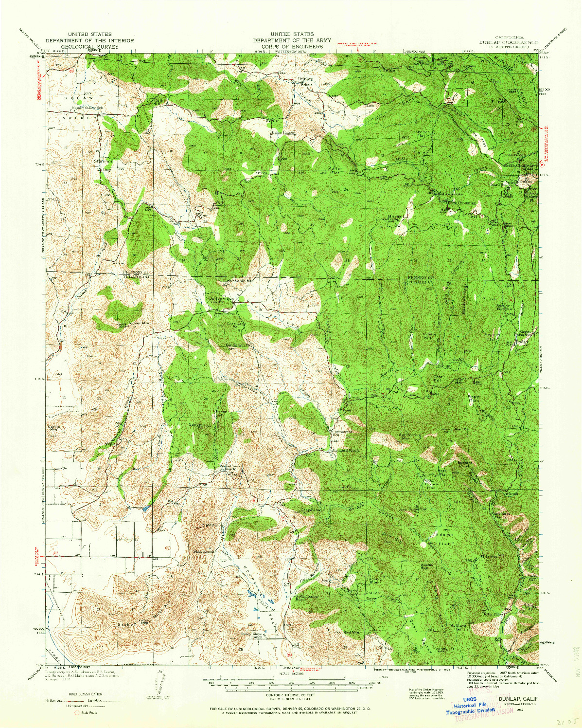 USGS 1:62500-SCALE QUADRANGLE FOR DUNLAP, CA 1942