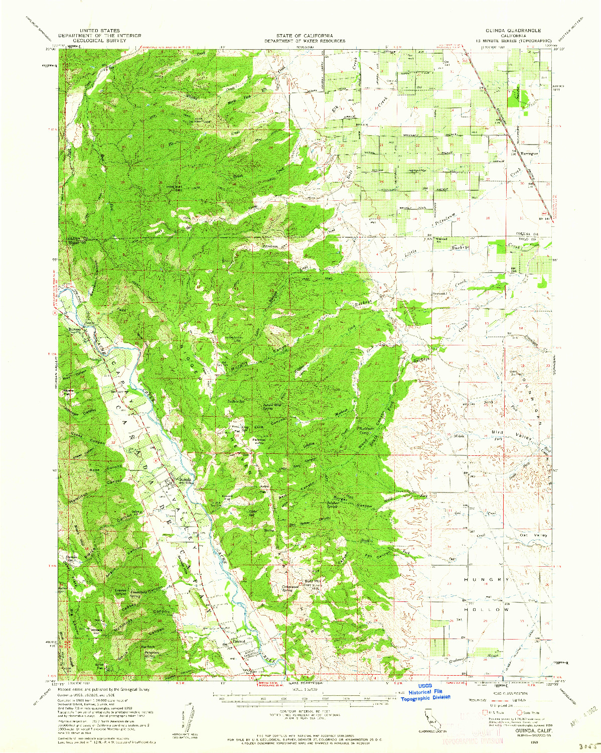 USGS 1:62500-SCALE QUADRANGLE FOR GUINDA, CA 1959