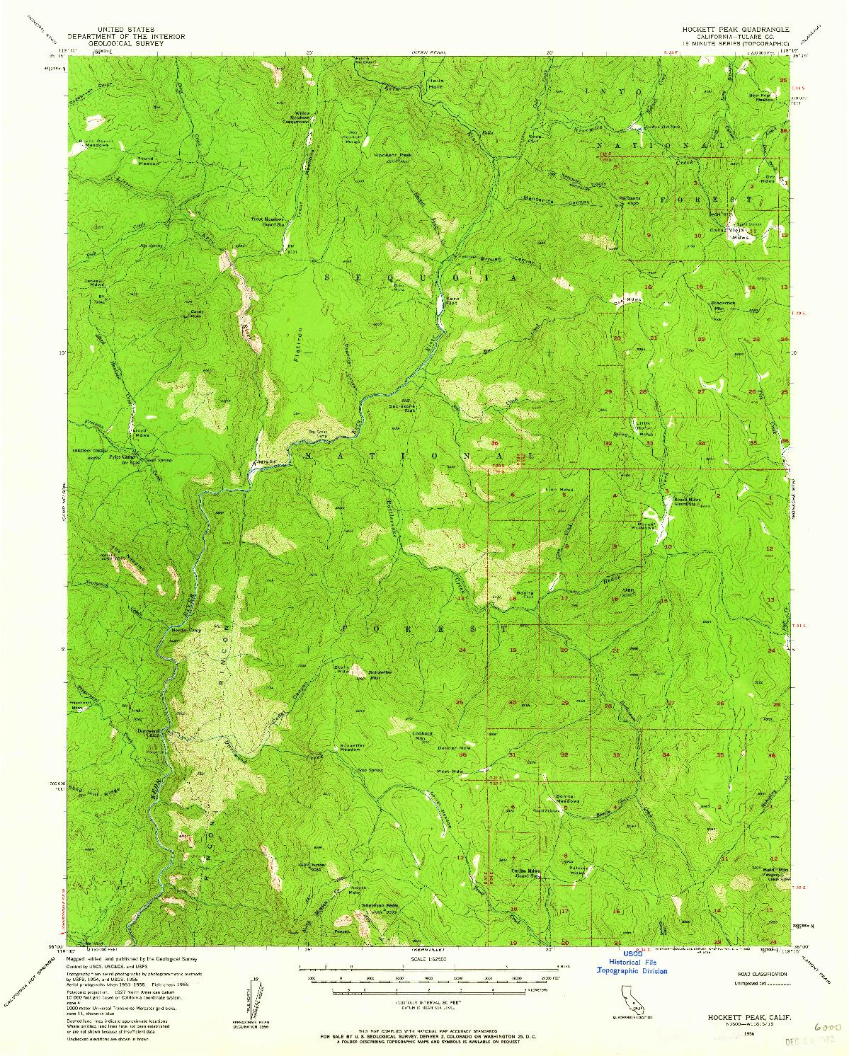 USGS 1:62500-SCALE QUADRANGLE FOR HOCKETT PEAK, CA 1956