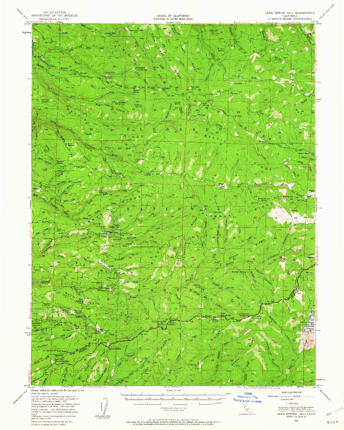 USGS 1:62500-SCALE QUADRANGLE FOR LEEK SPRING HILL, CA 1951