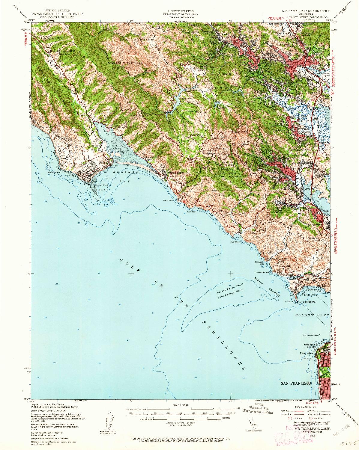 USGS 1:62500-SCALE QUADRANGLE FOR MT. TAMALPAIS, CA 1950