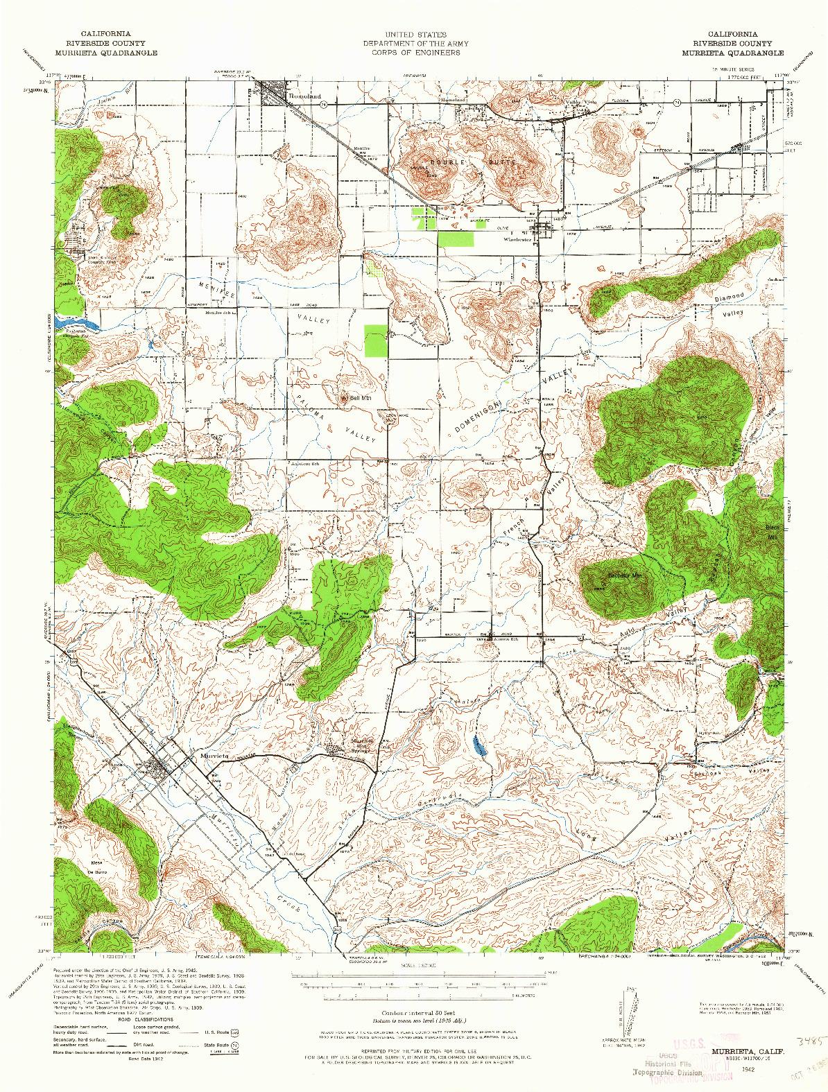 USGS 1:62500-SCALE QUADRANGLE FOR MURRIETA, CA 1942