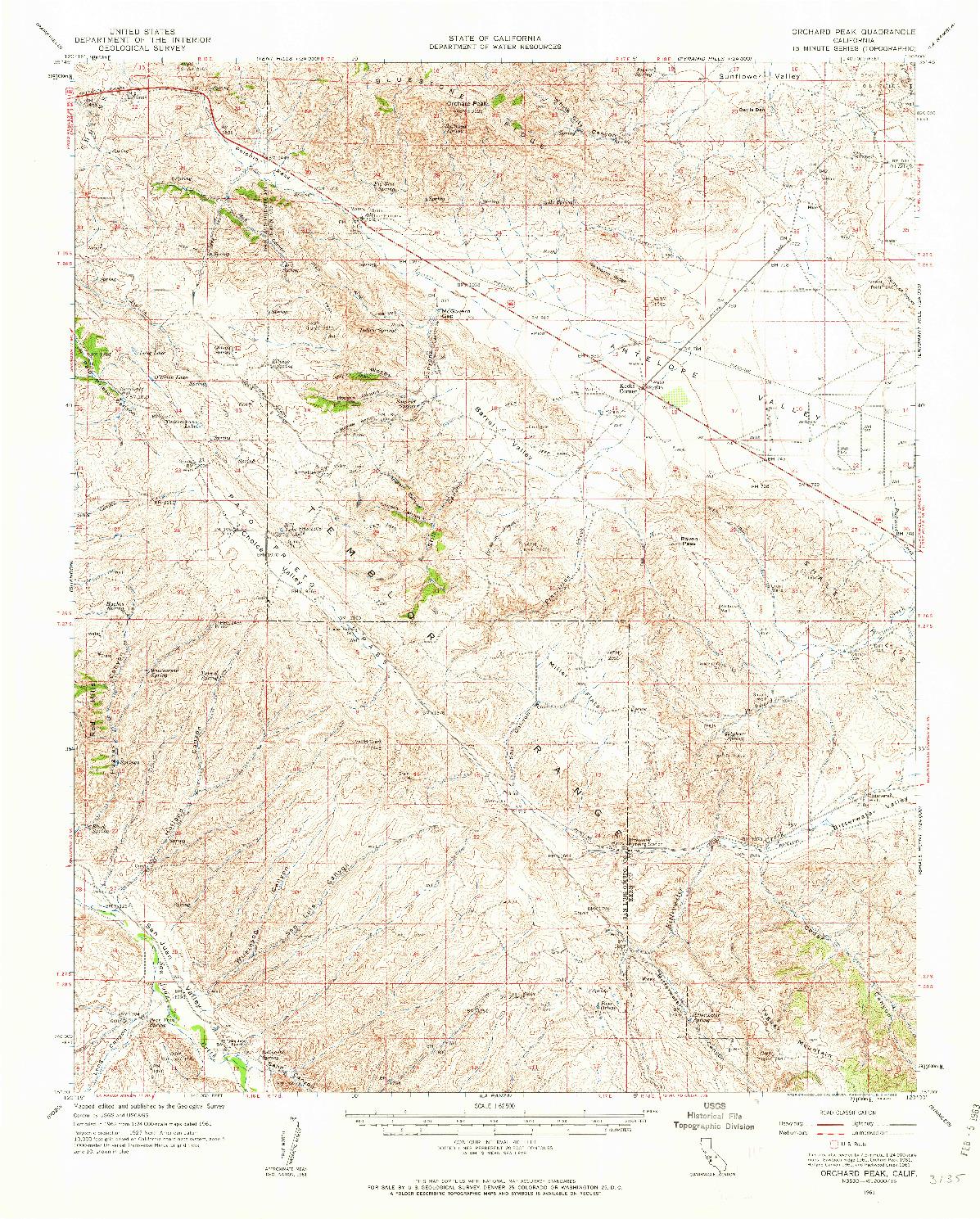 USGS 1:62500-SCALE QUADRANGLE FOR ORCHARD PEAK, CA 1961