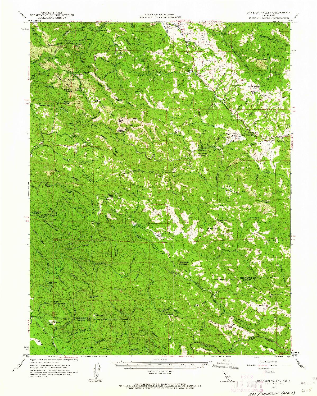 USGS 1:62500-SCALE QUADRANGLE FOR ORNBAUN VALLEY, CA 1960