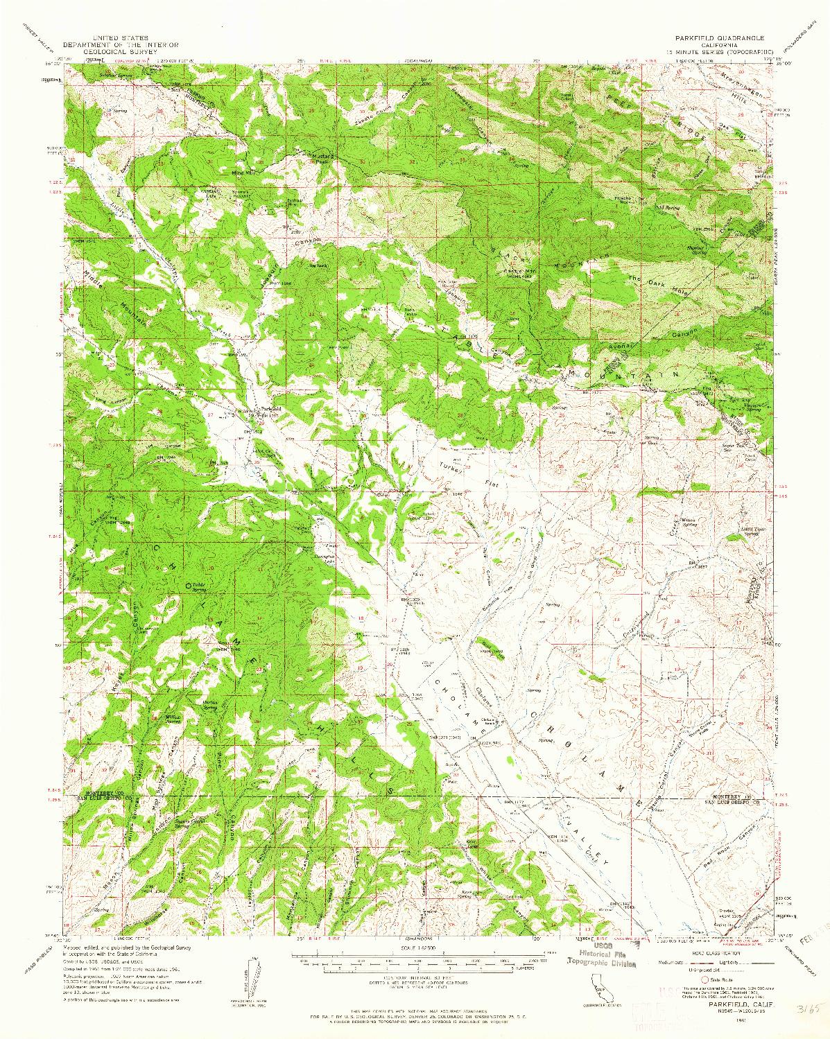 USGS 1:62500-SCALE QUADRANGLE FOR PARKFIELD, CA 1961