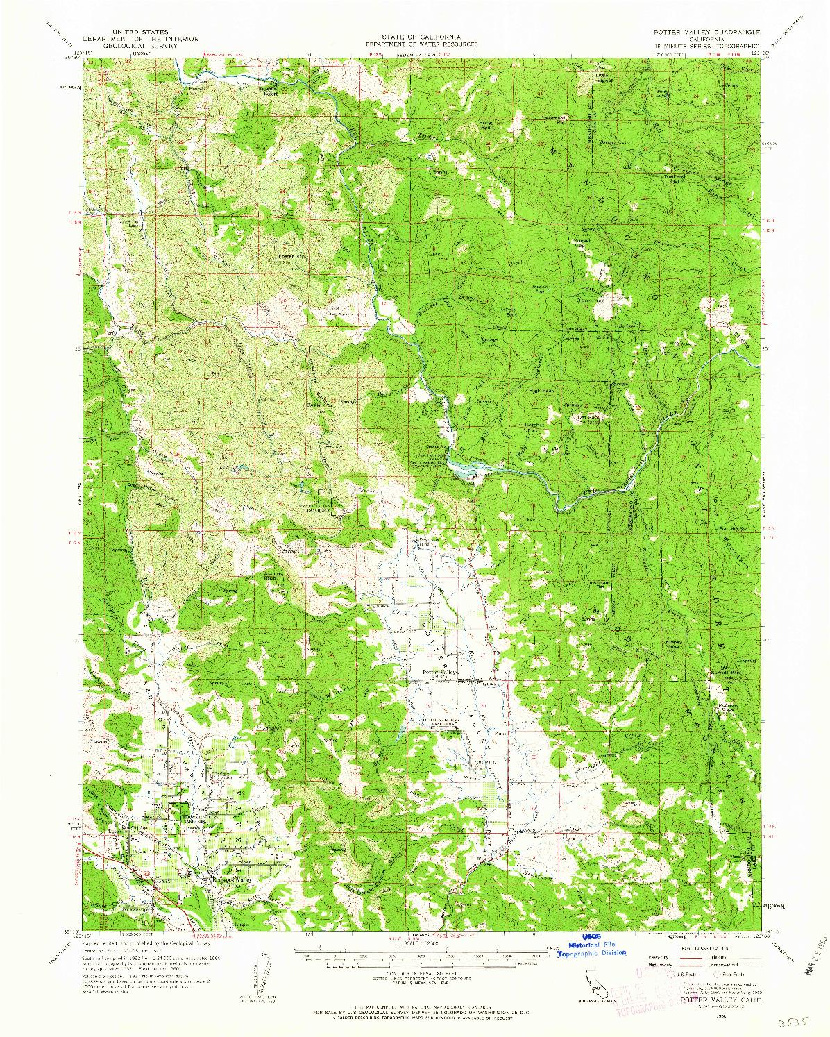 USGS 1:62500-SCALE QUADRANGLE FOR POTTER VALLEY, CA 1960