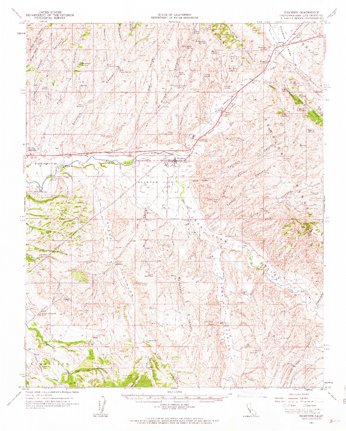 USGS 1:62500-SCALE QUADRANGLE FOR SHANDON, CA 1961