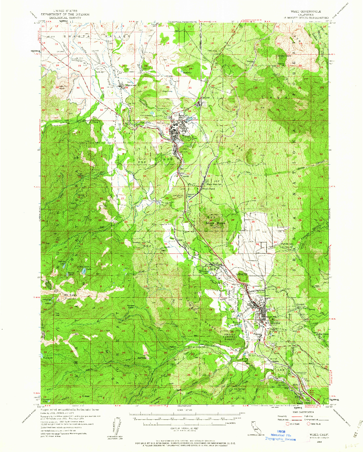 USGS 1:62500-SCALE QUADRANGLE FOR WEED, CA 1954