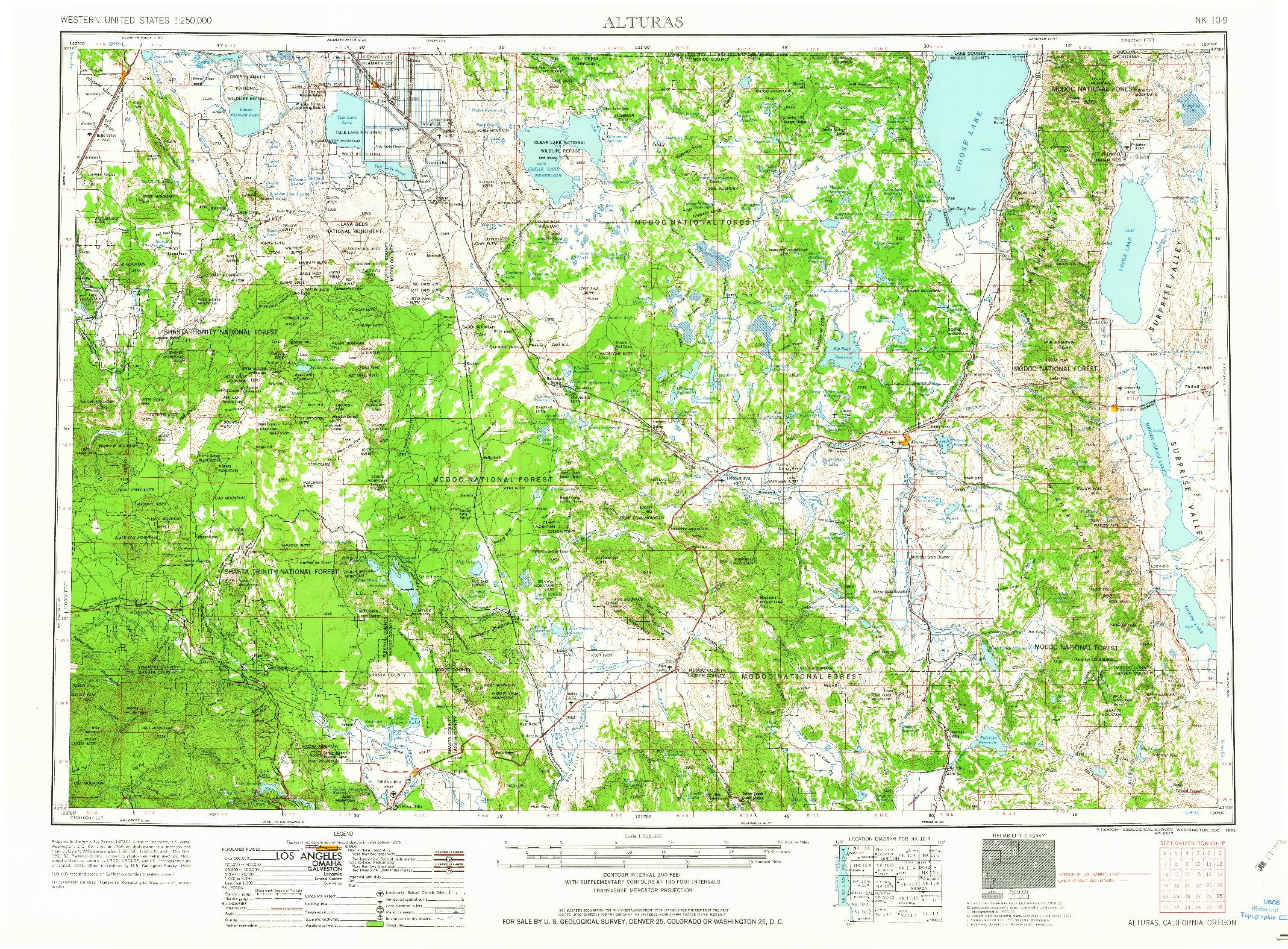 USGS 1:250000-SCALE QUADRANGLE FOR ALTURAS, CA 1962
