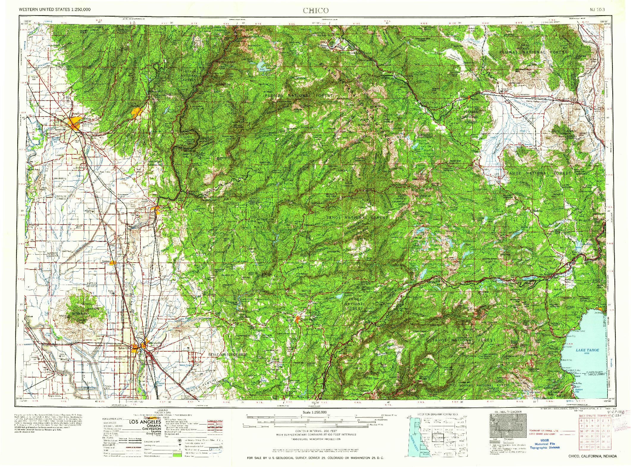 USGS 1:250000-SCALE QUADRANGLE FOR CHICO, CA 1958