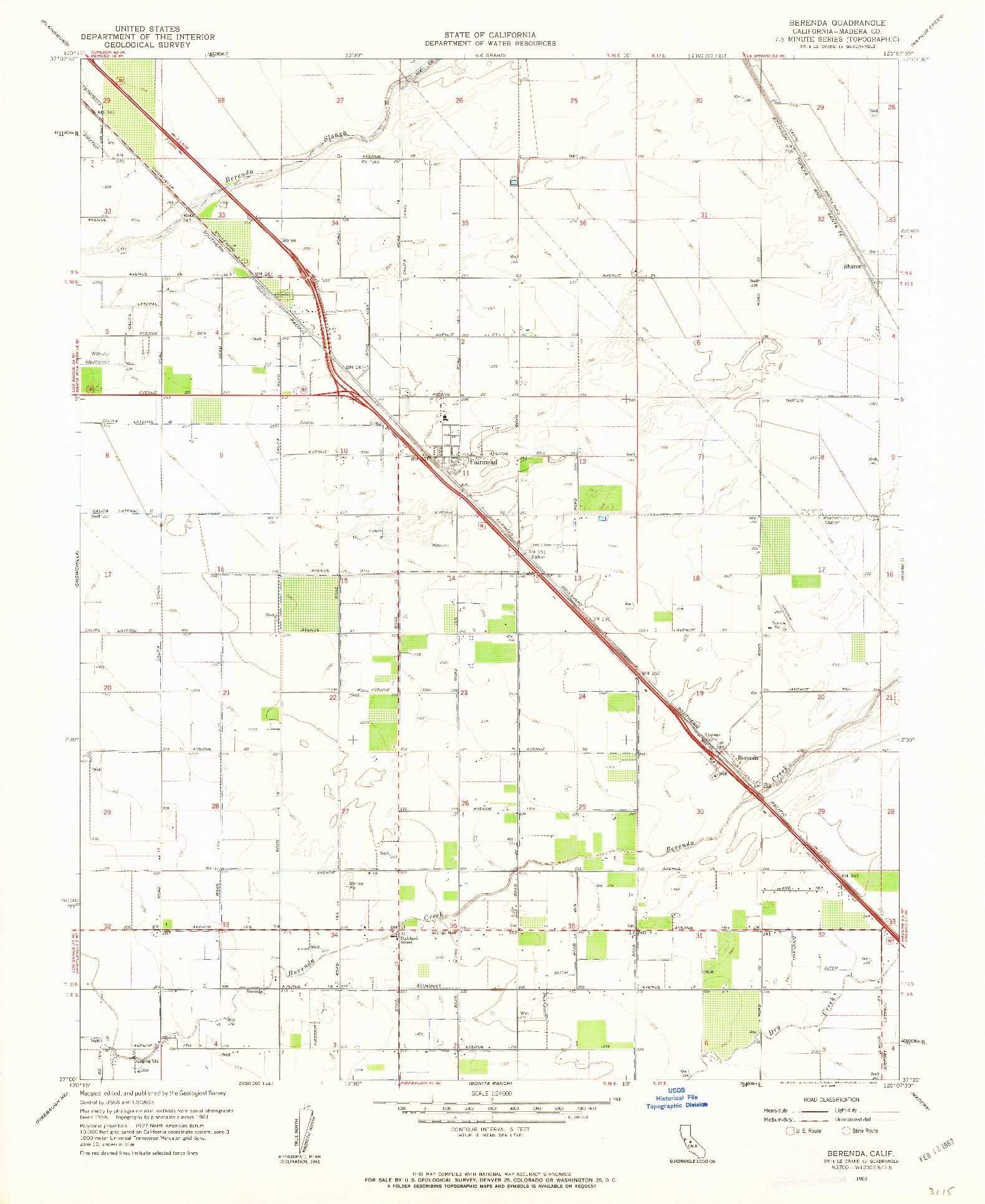 USGS 1:24000-SCALE QUADRANGLE FOR BERENDA, CA 1961