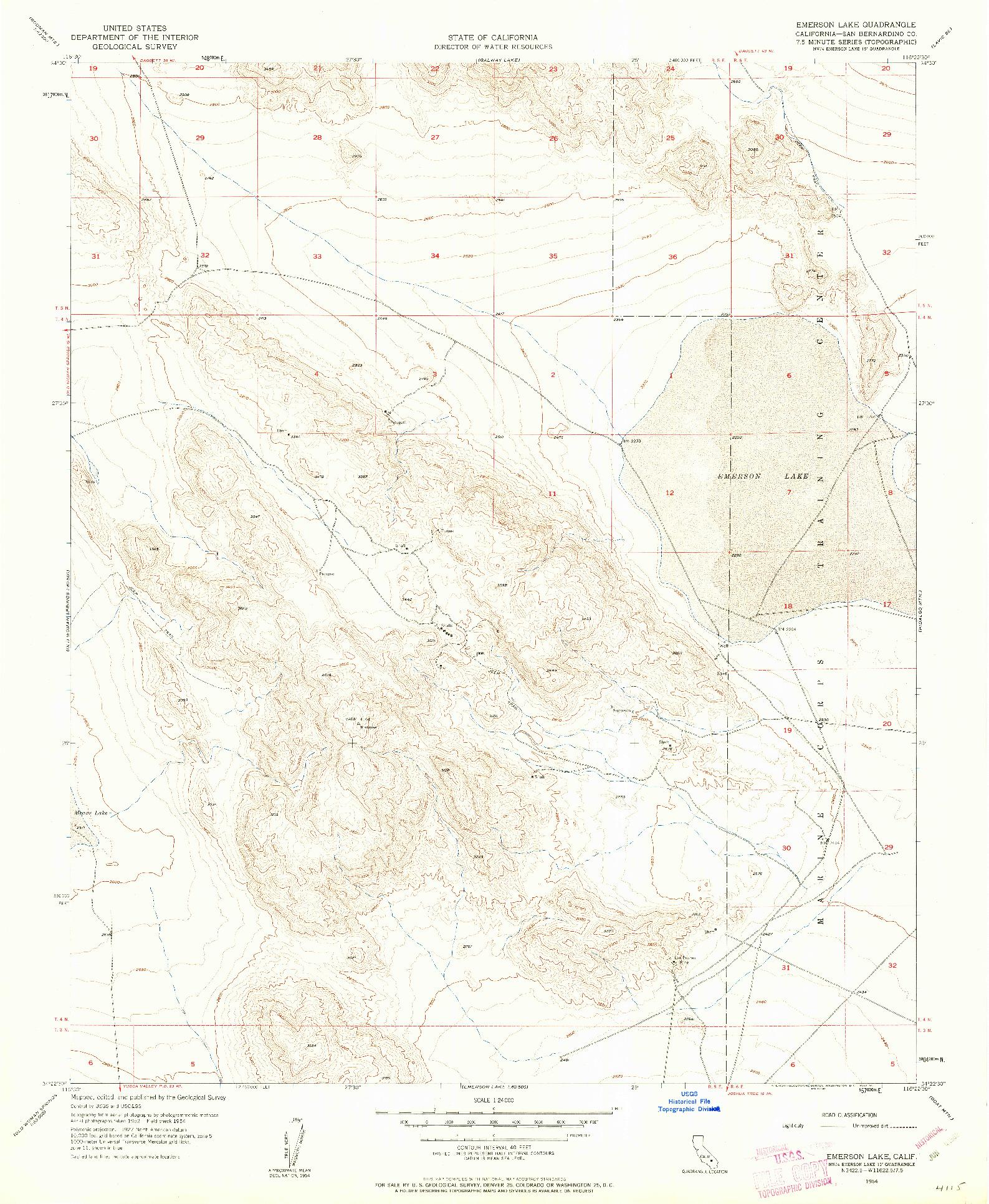 USGS 1:24000-SCALE QUADRANGLE FOR EMERSON LAKE, CA 1954